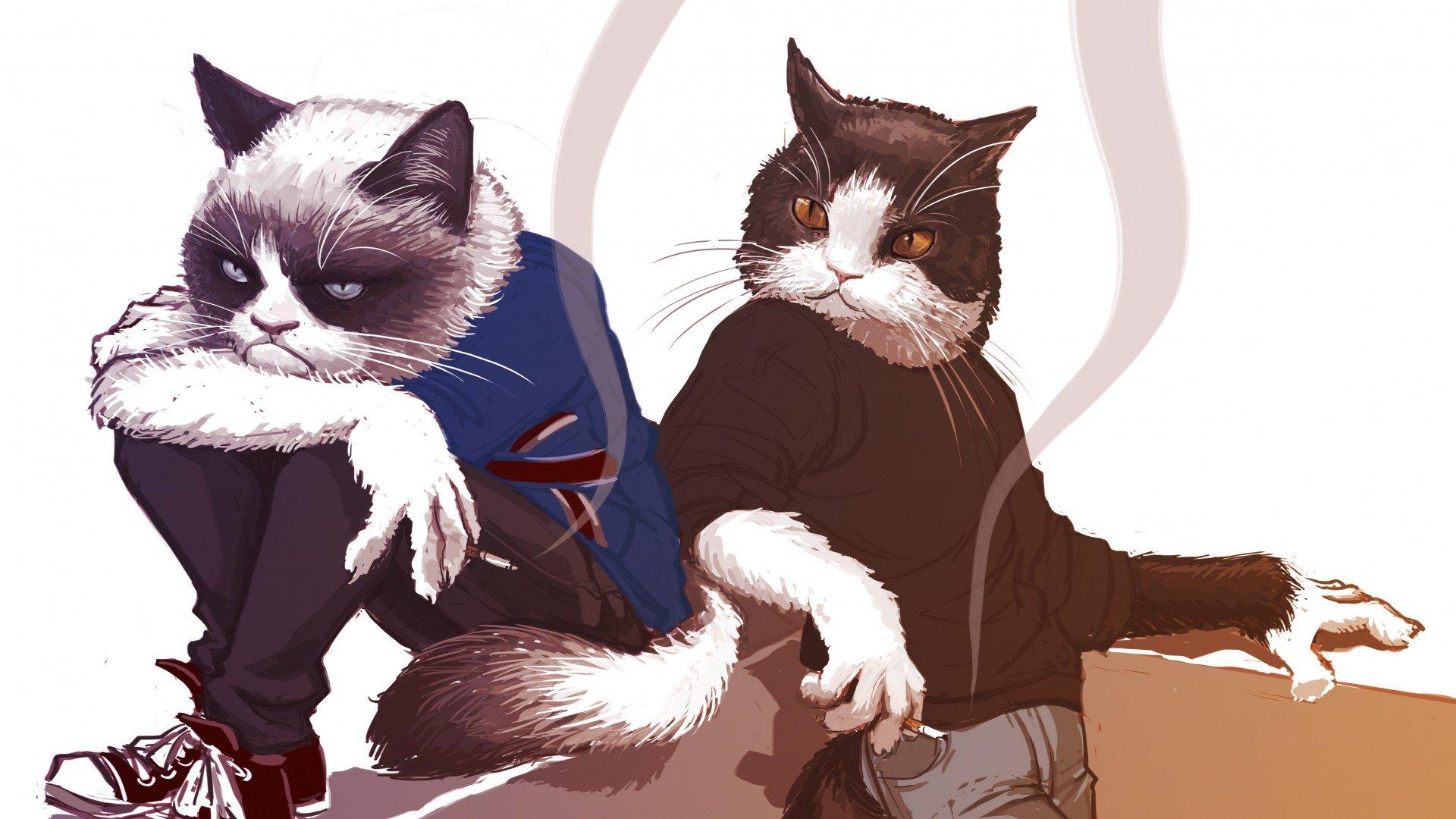 коты как люди арты селятся
