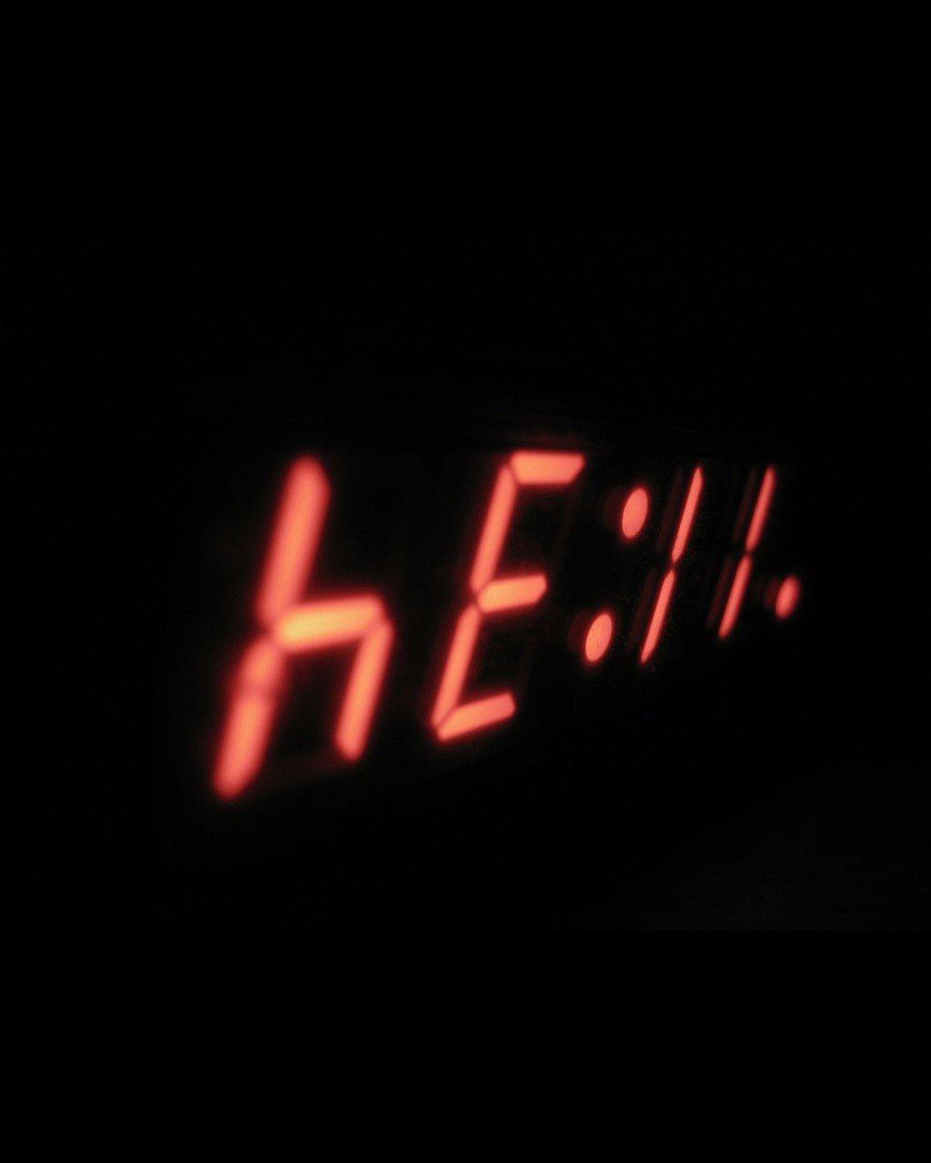 1024x1280 px 7 segment clocks hell night time upside down