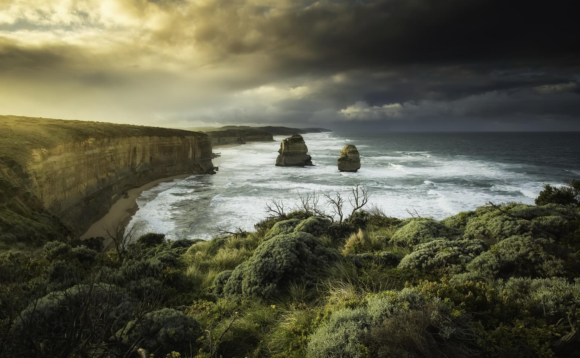 Wallpaper 12 Apostles Sea Coast Australia Nature Dark
