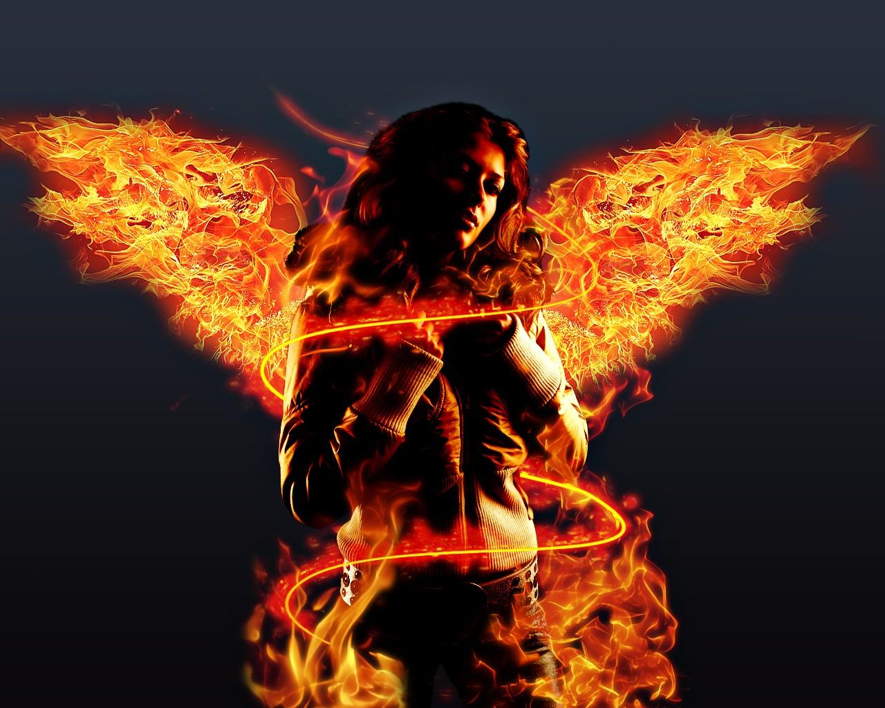 1280x1024 px digital art fire simple background wings women