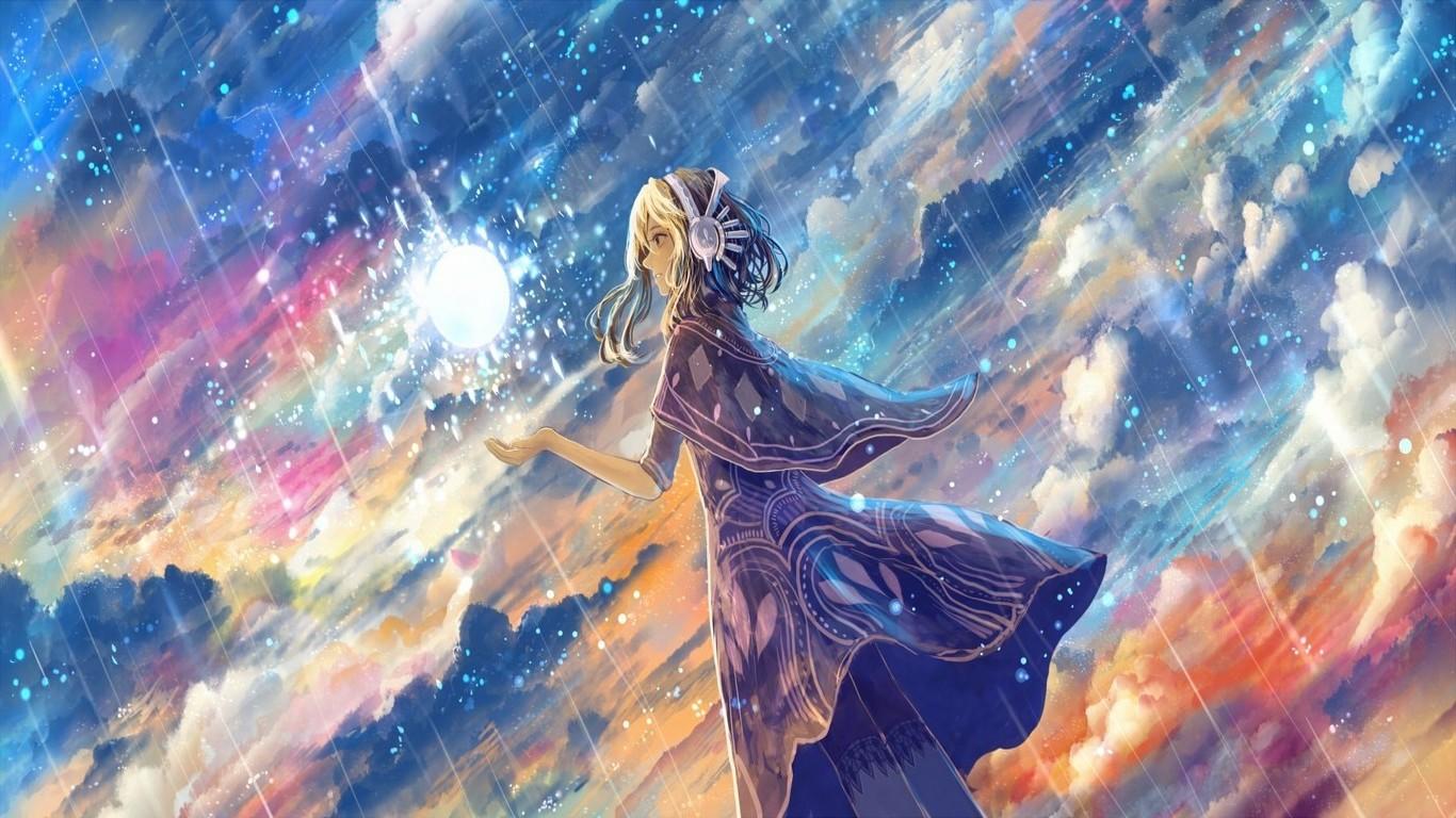 Wallpaper : 1366x768 px, anime, clouds, headphones, rain ...