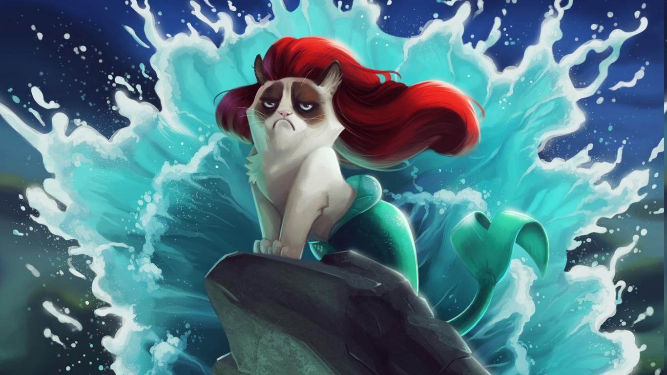 1366x768 Px Cats Disney Grumpy Cat Humor The Little Mermaid