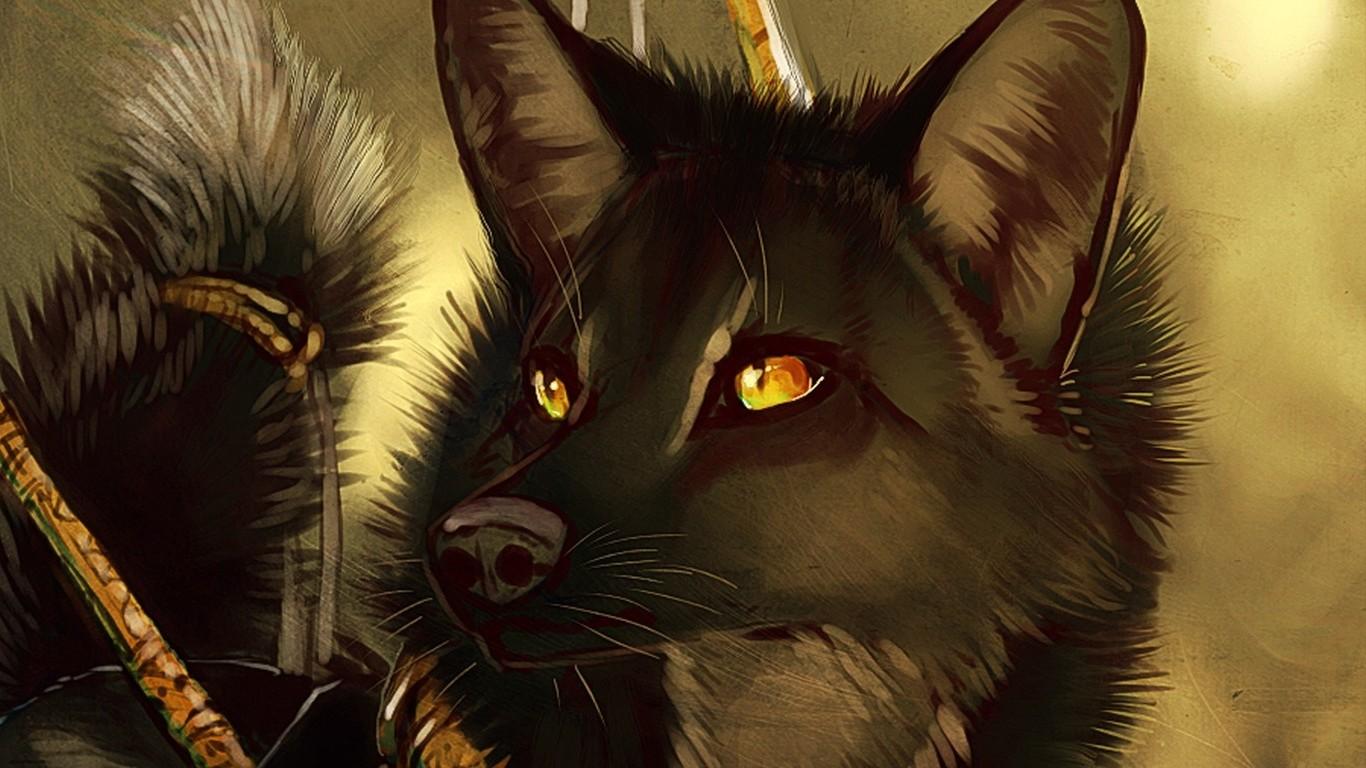 1366x768 px furry wolf