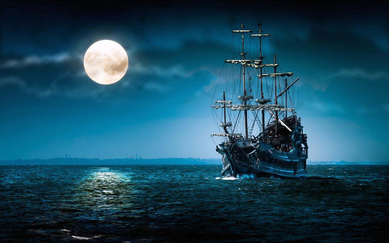 px, phosphorescence, pirates, Sail Ship