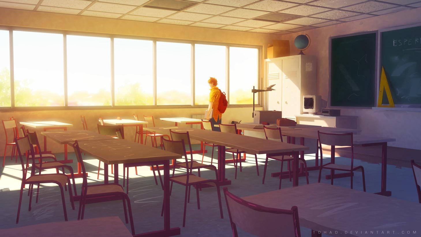 1459x821 Px Alone Anime Empty Class School