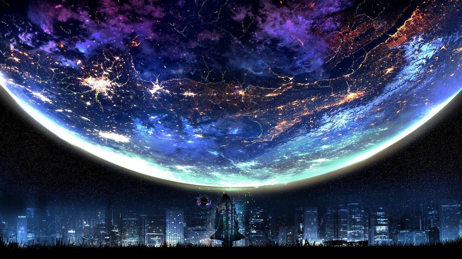 Masaüstü : 1536x864 Piksel, Şehir Manzarası, Ay, Gece