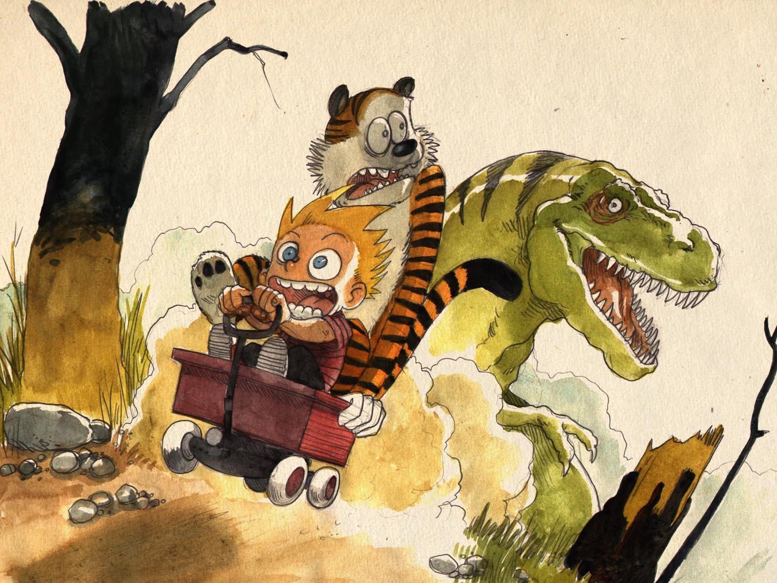 Wallpaper : 1600x1200 px, Calvin and Hobbes, Tyrannosaurus rex ...