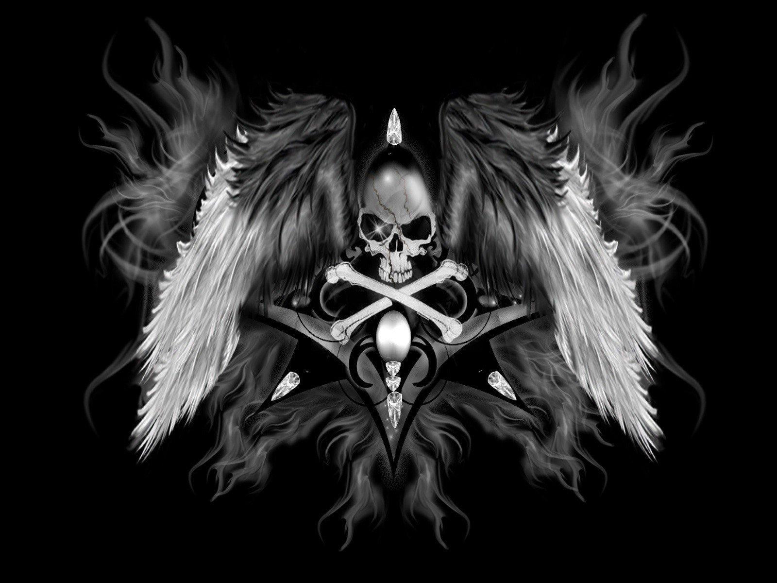 Wallpaper 1600x1200 Px Angel Dark Occult Skull