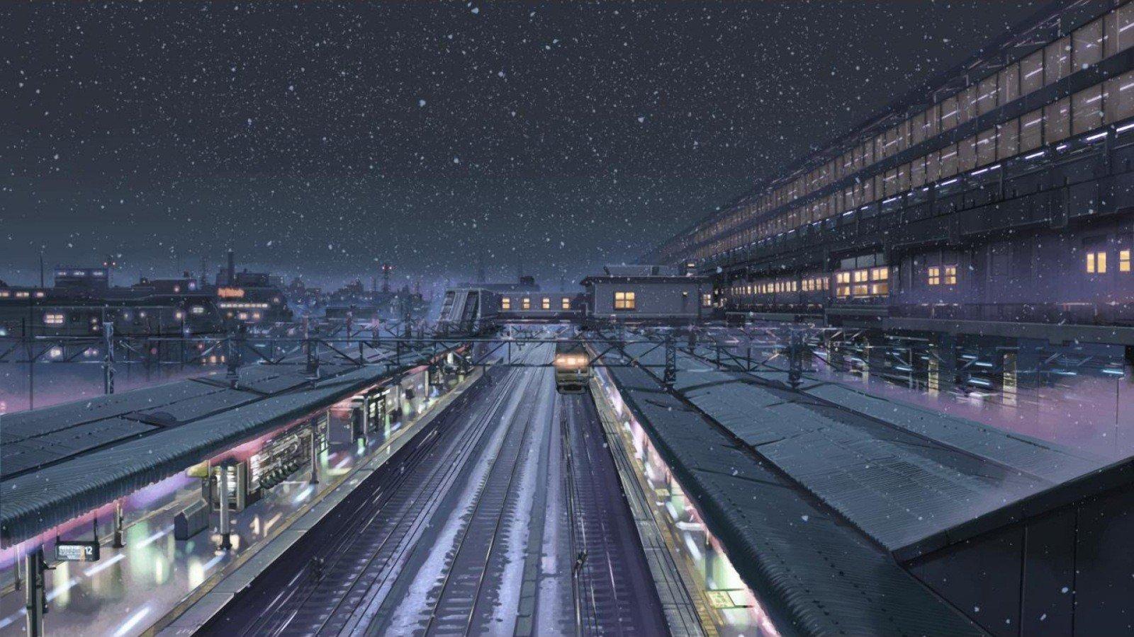 Wallpaper 1600x900 Px 5 Centimeters Per Second Makoto Shinkai Night Snow Train Station Winter 1600x900 Coolwallpapers 1513077 Hd Wallpapers Wallhere