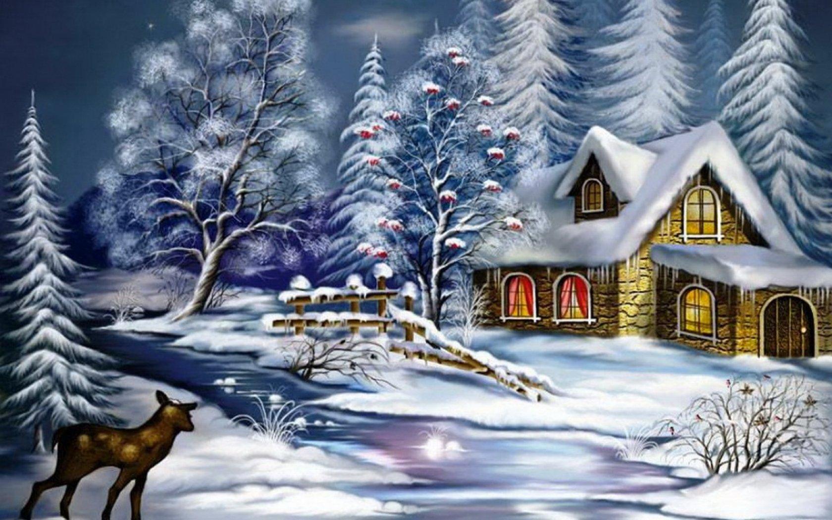 картинка с зимним пейзажем с одним домиком и оленями купить квартиру рязани