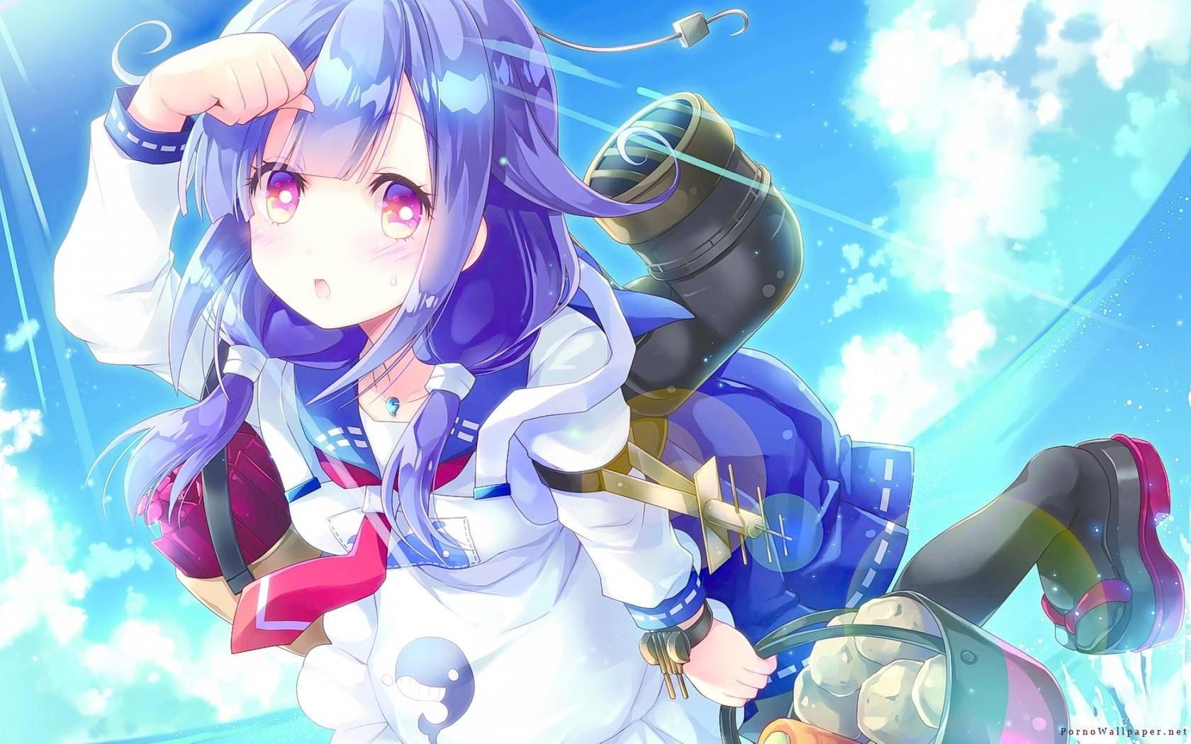 1680x1050 Px Anime Girls Blue Hair Ornament Kantai Collection Long Purple Eyes Taigei