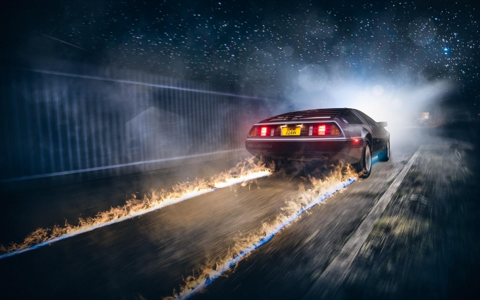 1680x1050 px artwork Back to the Future car DeLorean fire movies