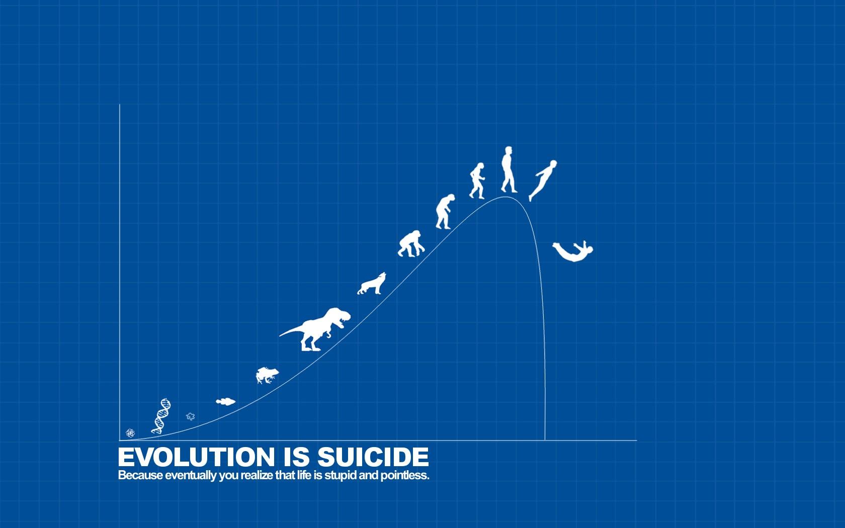 1680x1050 Px Dark Humor Evolution Graph Suicide