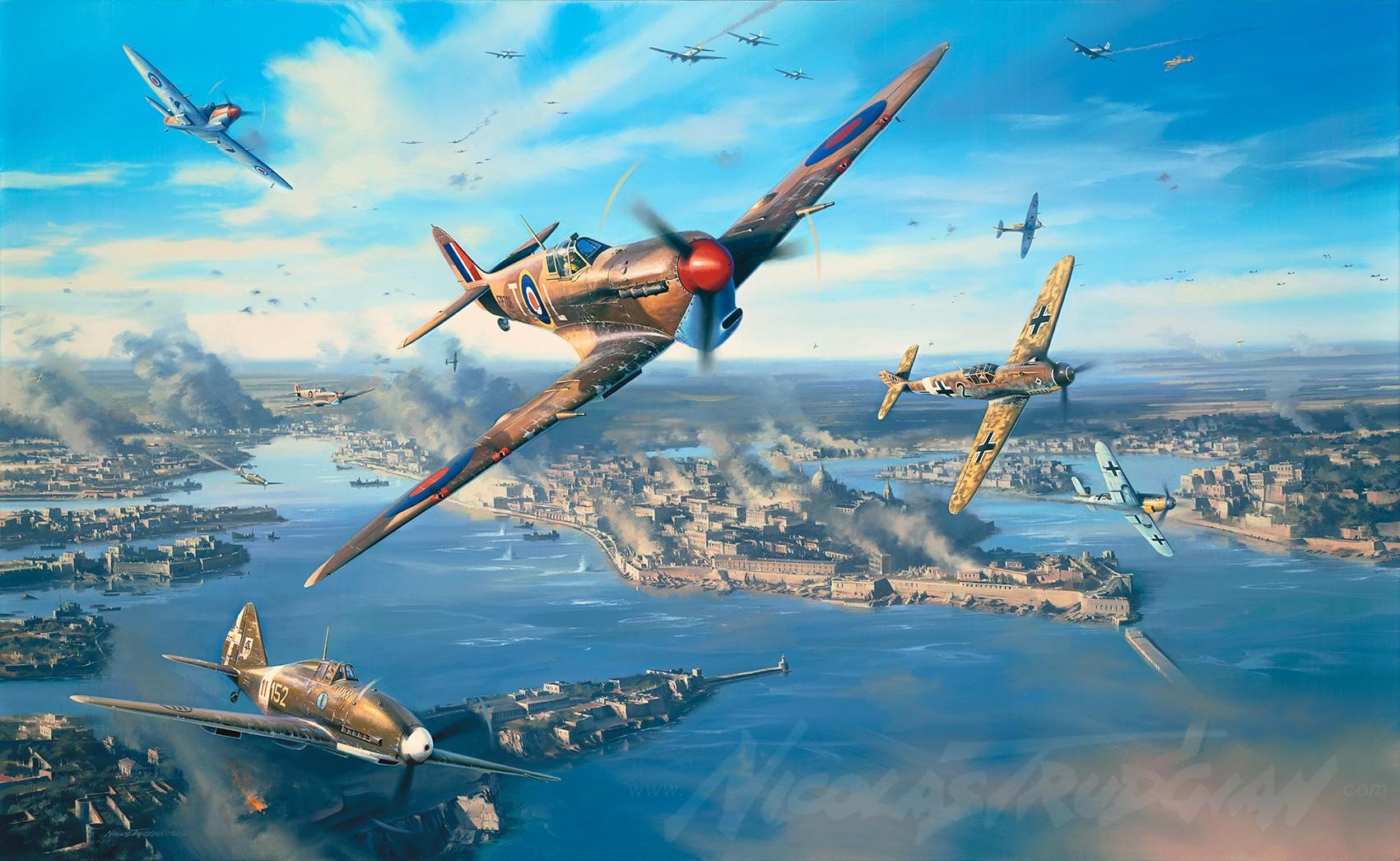 1701x1046 px dogfight Luftwaffe Malta Messerschmitt Bf 109 military aircraft Royal Airforce Supermarine Spitfire World War