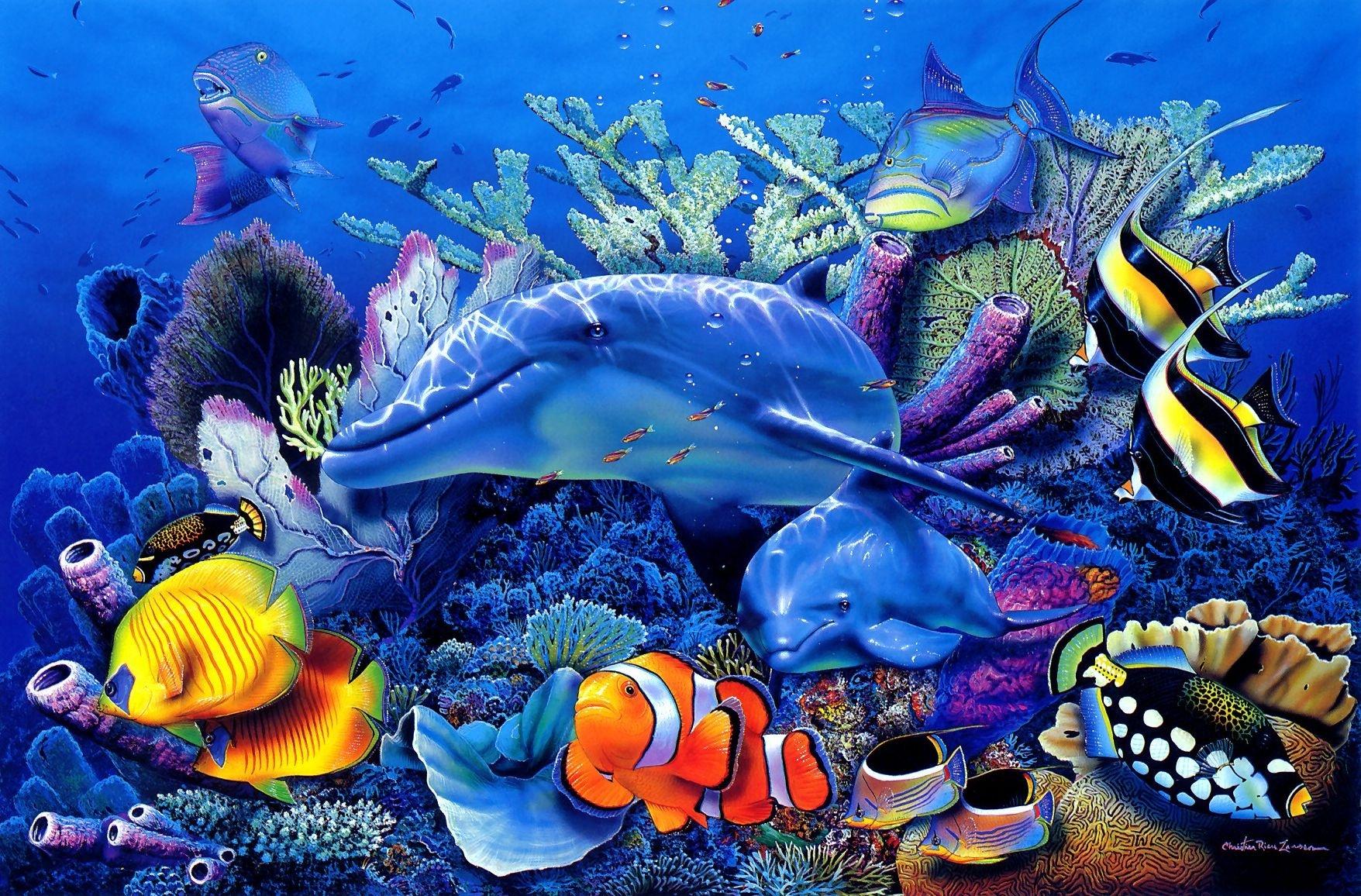 Wallpaper 1756x1156 Px Art Christian Corals Dolphin