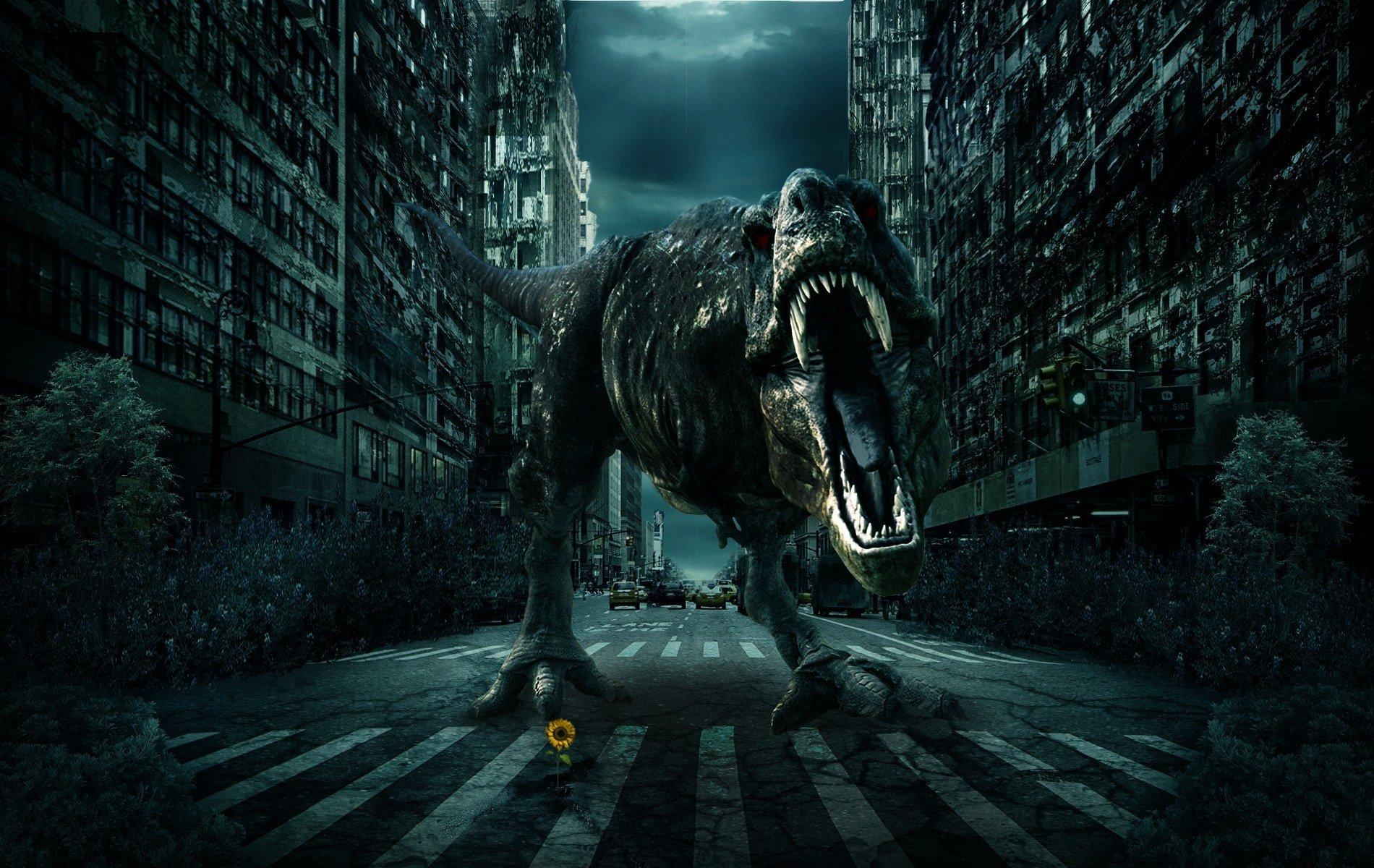 Wallpaper 1900x1200 Px 3d City Dinosaur Fantasy