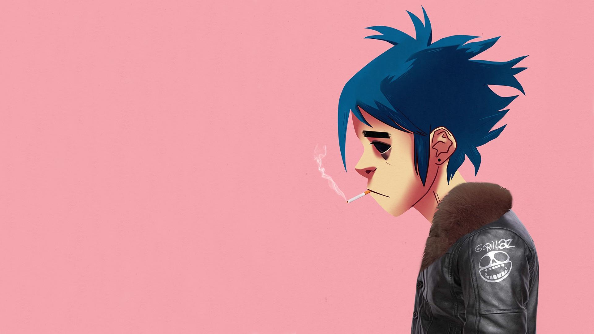 1920x1080 px 2D Gorillaz simple background smoking