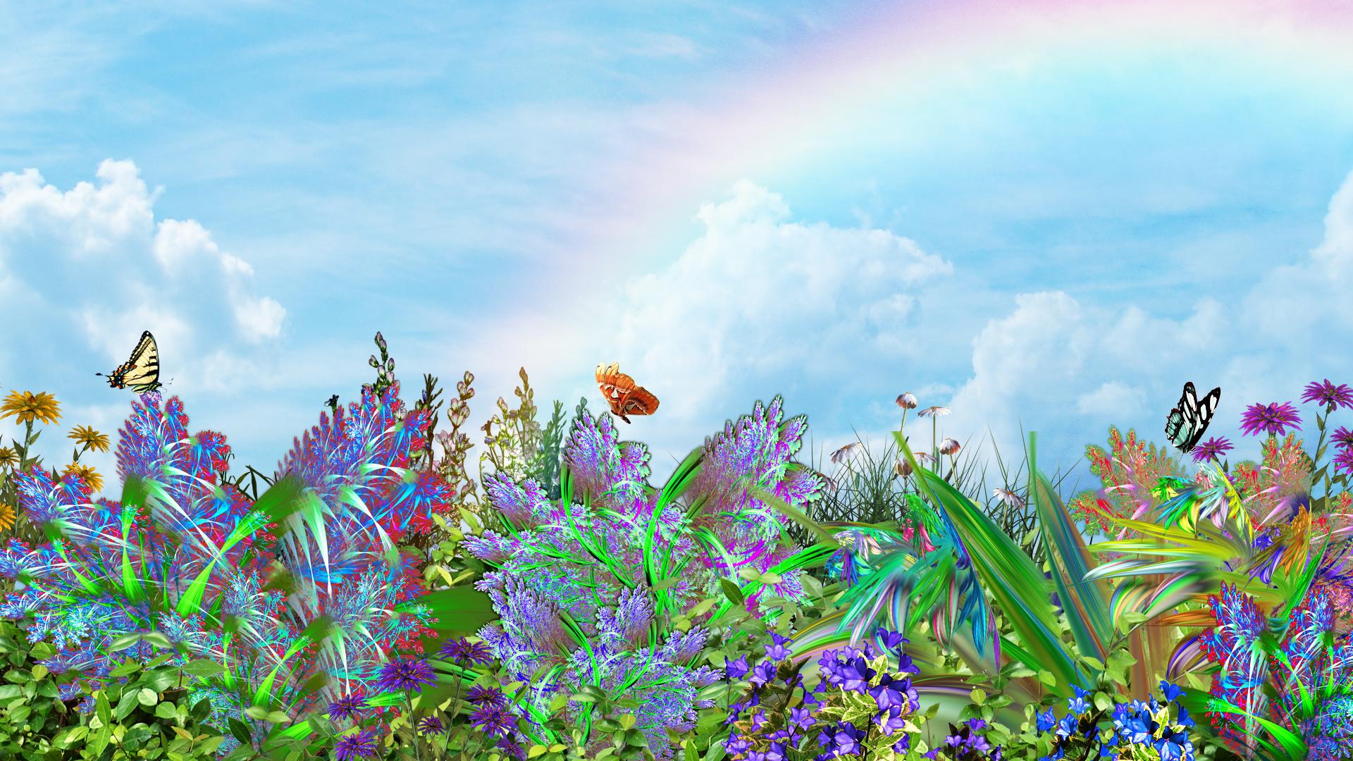 1920x1080 px 3D ART butterflies Butterflysky flowers nature plants 1709799