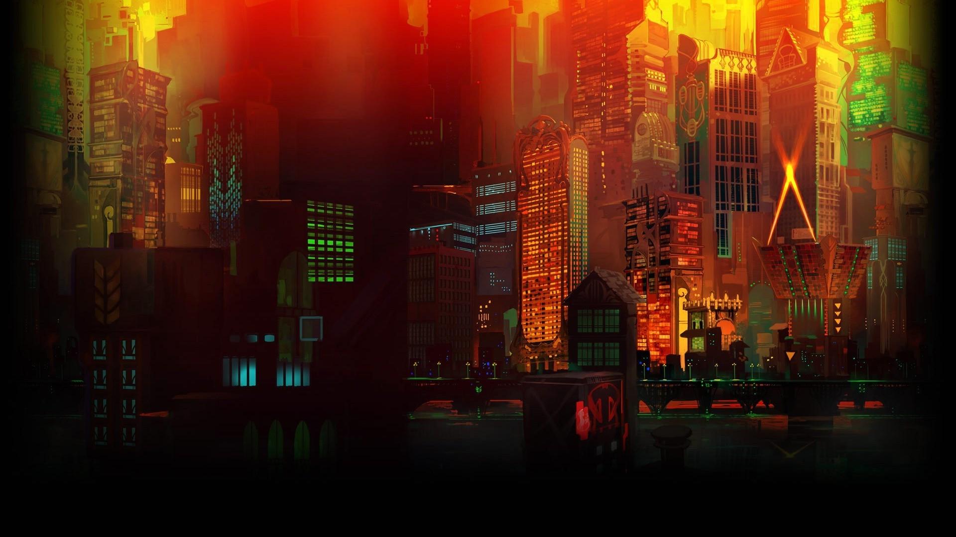 1920x1080 px 3D building CGI colorful digital art lights skyscraper Transistor video games window