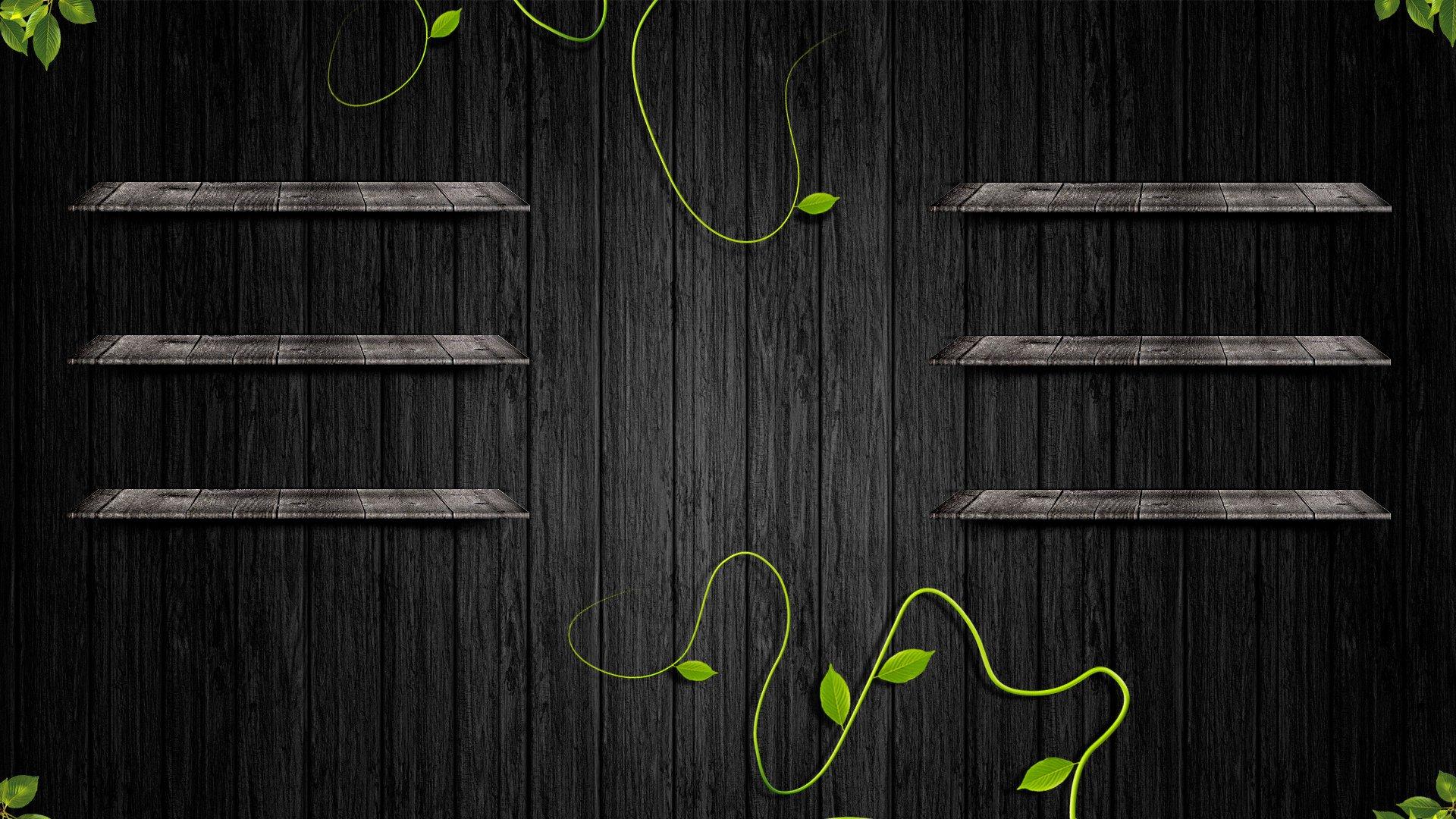 1920x1080 px 3D desktop black leaves shelf wall wood 1287199