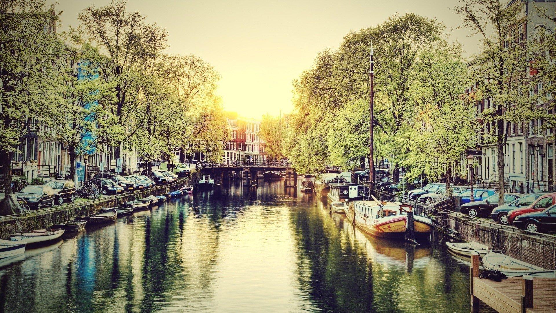 Wallpaper 1920x1080 Px Amsterdam Canal Summer Water