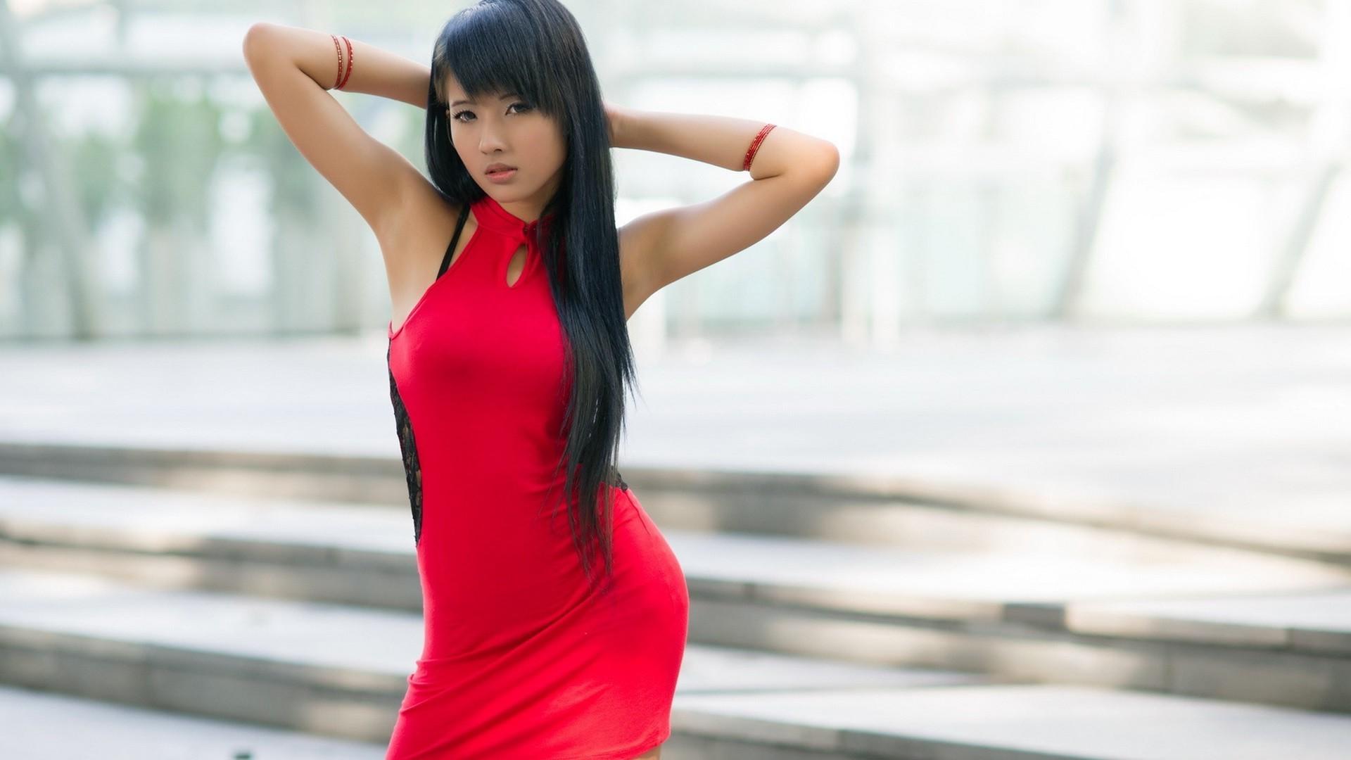 1920x1080 Px Asian Red Dress Women