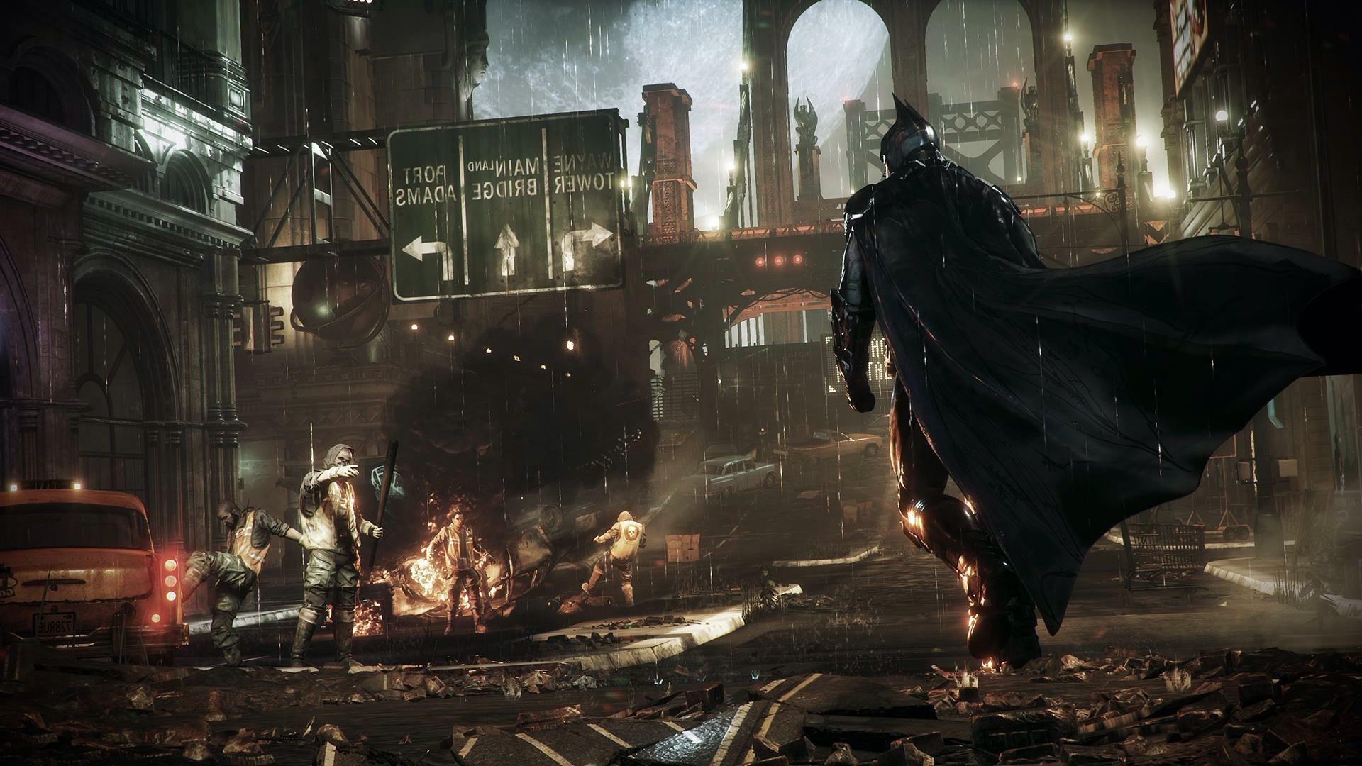1920x1080 Px Batman Arkham Knight Building Fire Gotham City Smoke Street Taxi