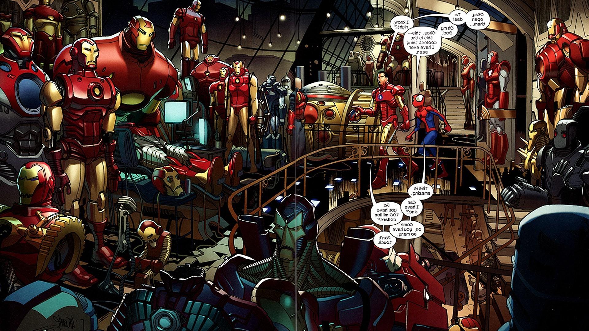 Wallpaper 1920x1080 Px Bender Comics Iron Man Spider Man