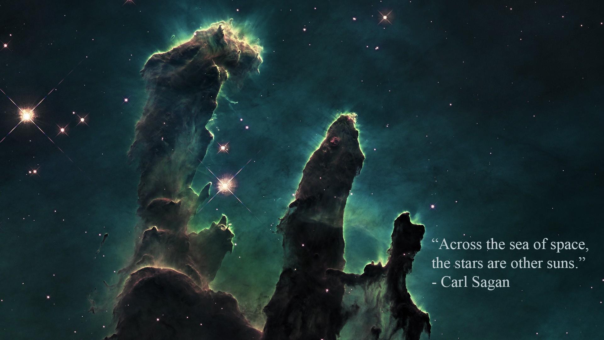 1920x1080 Px Carl Sagan Nebula Pillars Of Creation Quote Space