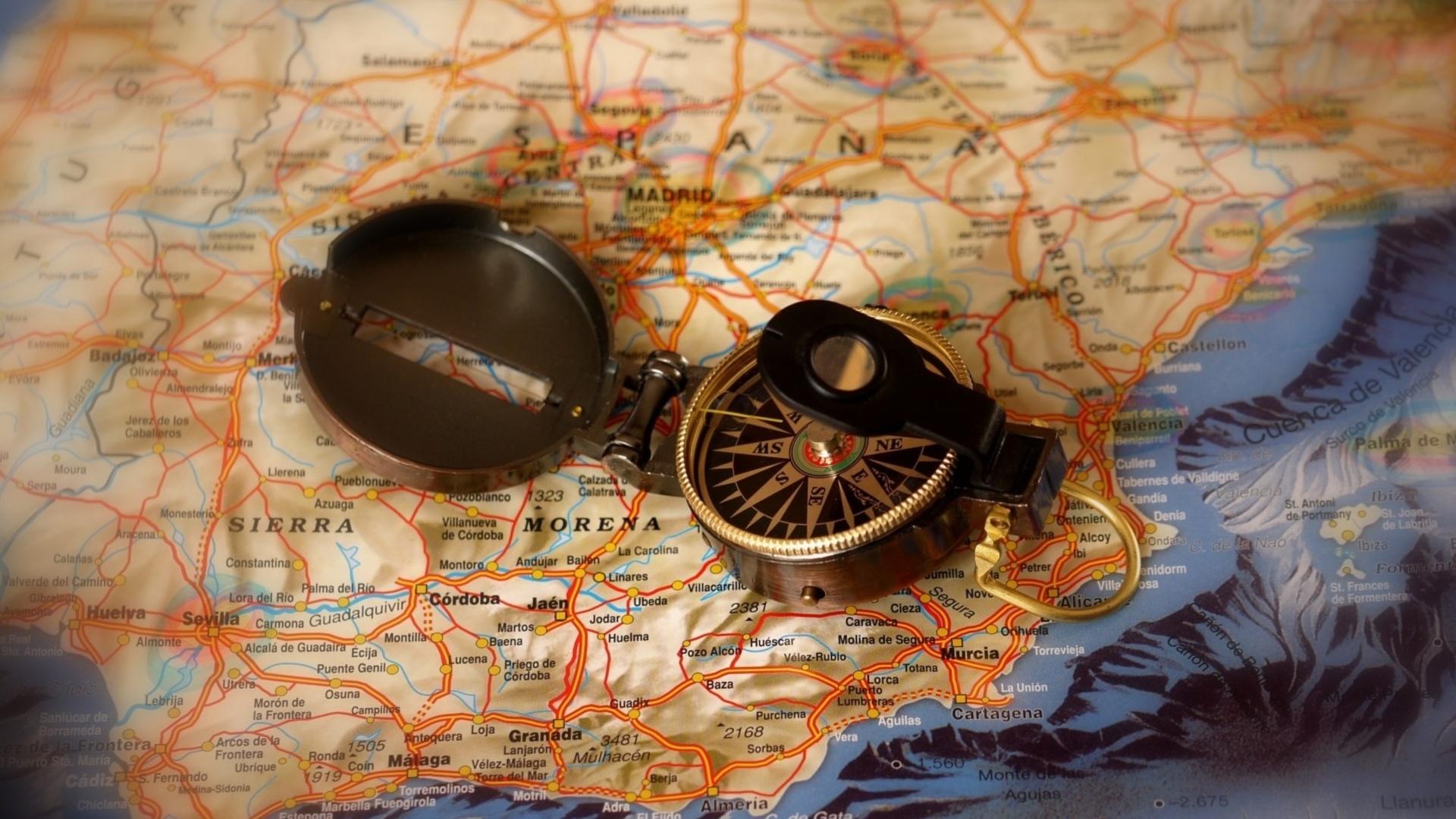 Wallpaper 1920x1080 Px Compas Map Spain Travel 1920x1080
