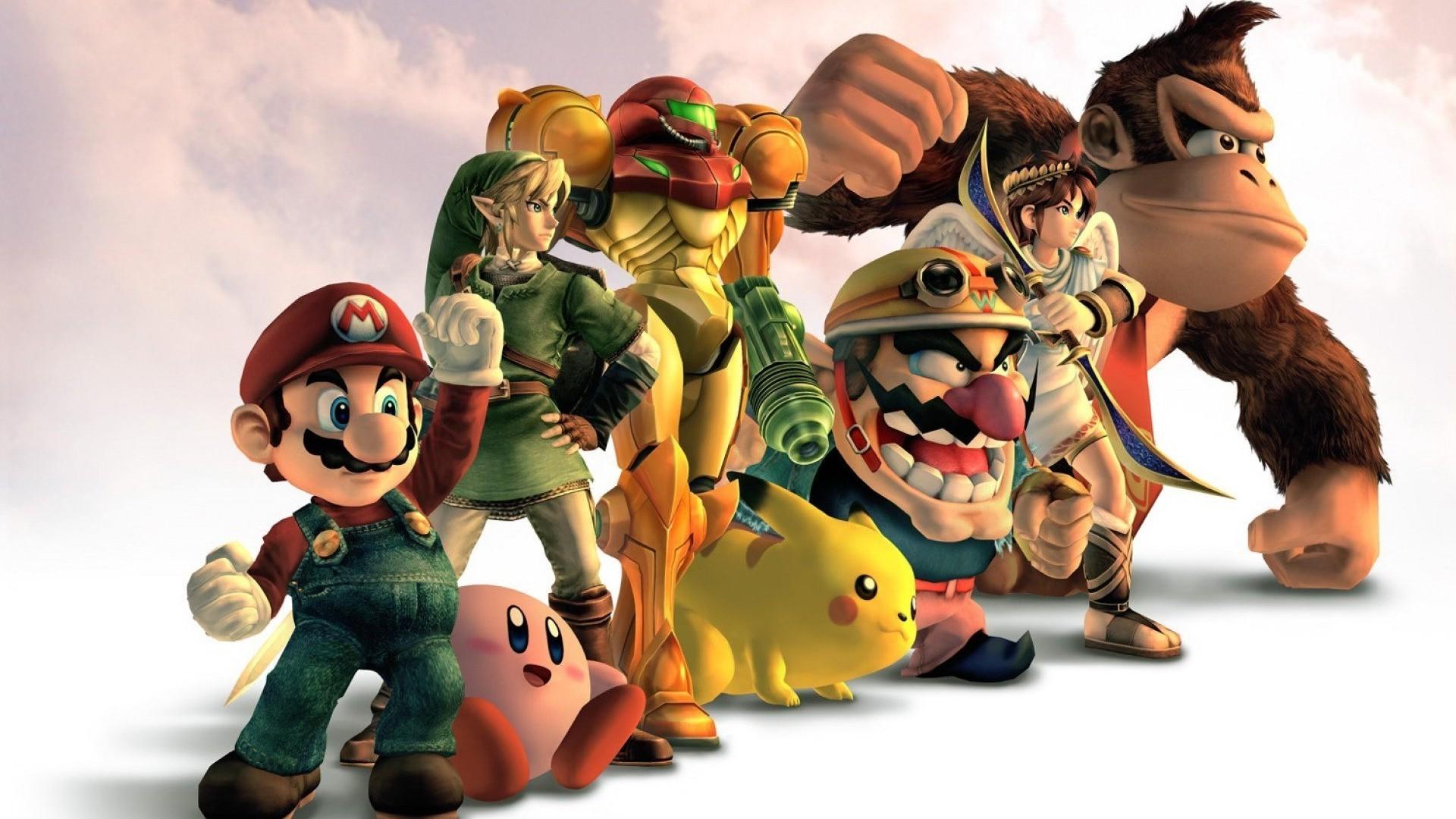 1920x1080 Px Donkey Kong Kirby Link Metroid Pikachu Samus Aran Super Mario The Legend Of Zelda