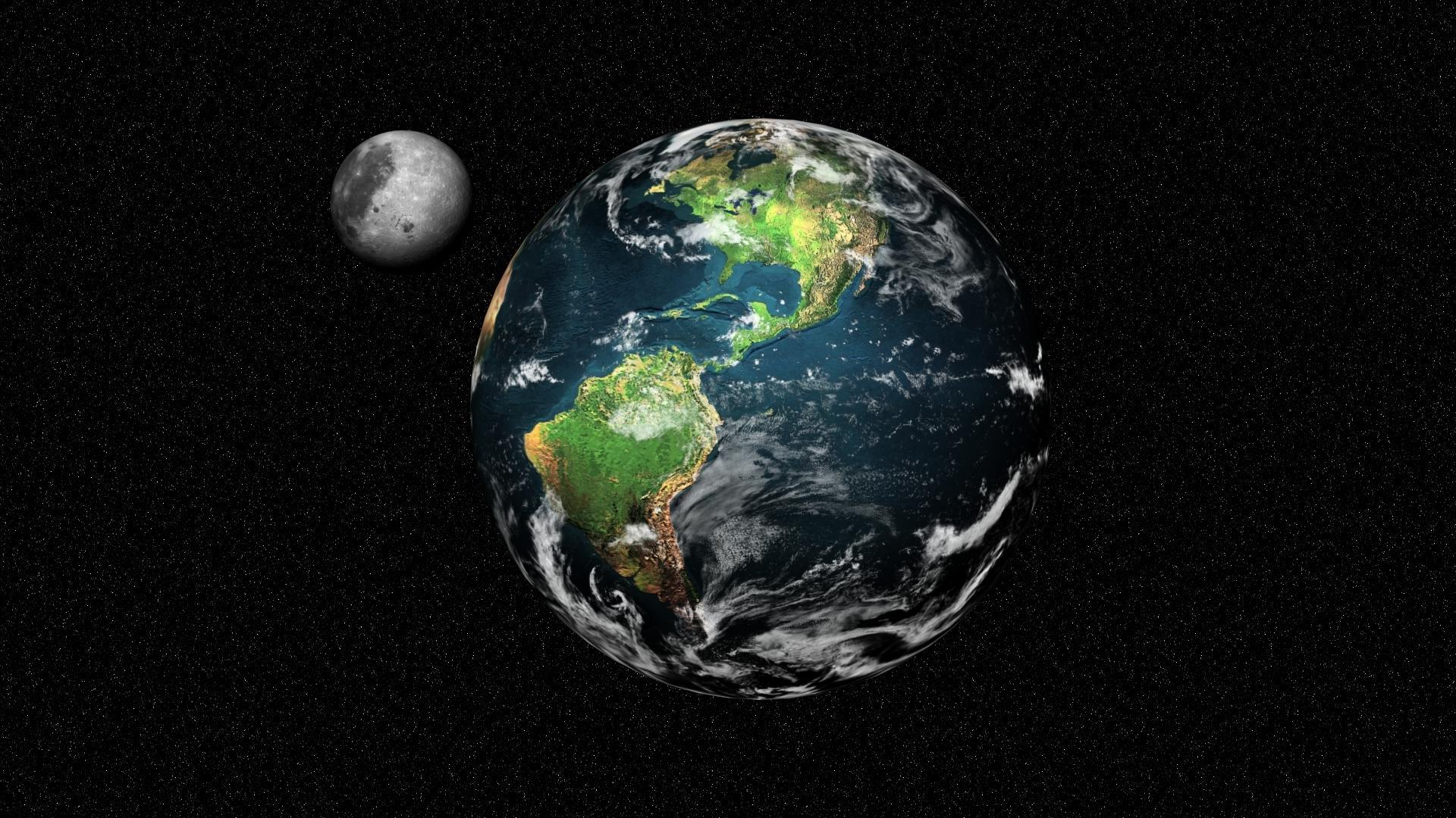 Wallpaper 1920x1080 Px Earth Moon Planets Space Stars Zamlya