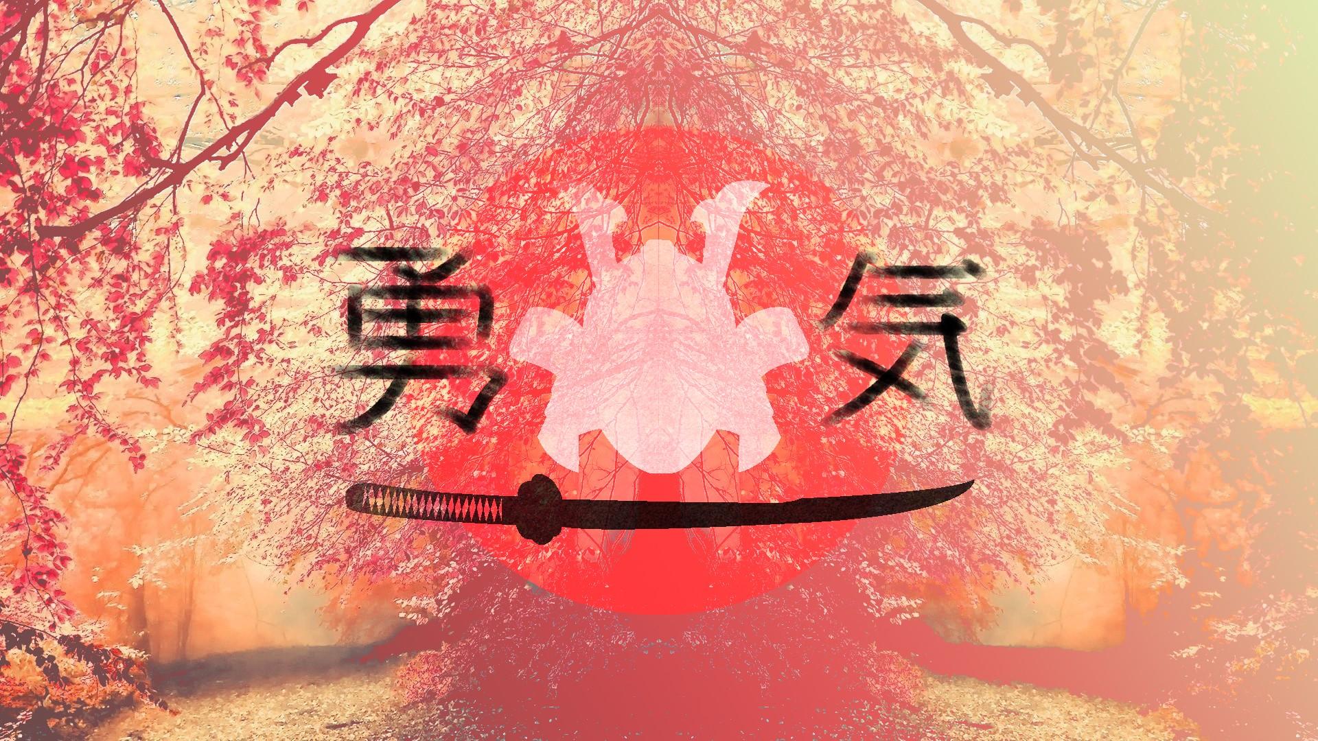 Wallpaper 1920x1080 Px Japan Kanji Pink Samurai