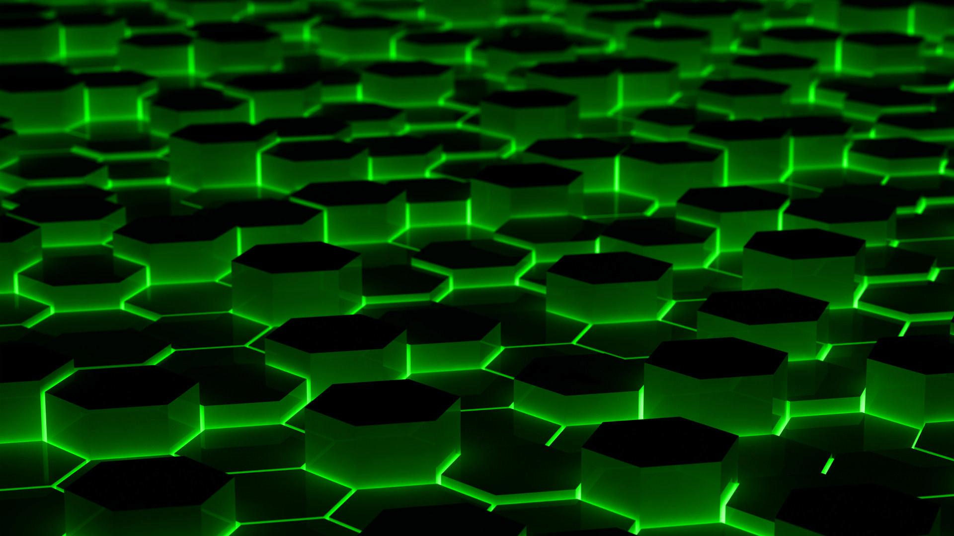 Wallpaper 1920x1080 Px Abstract Green Hexagons