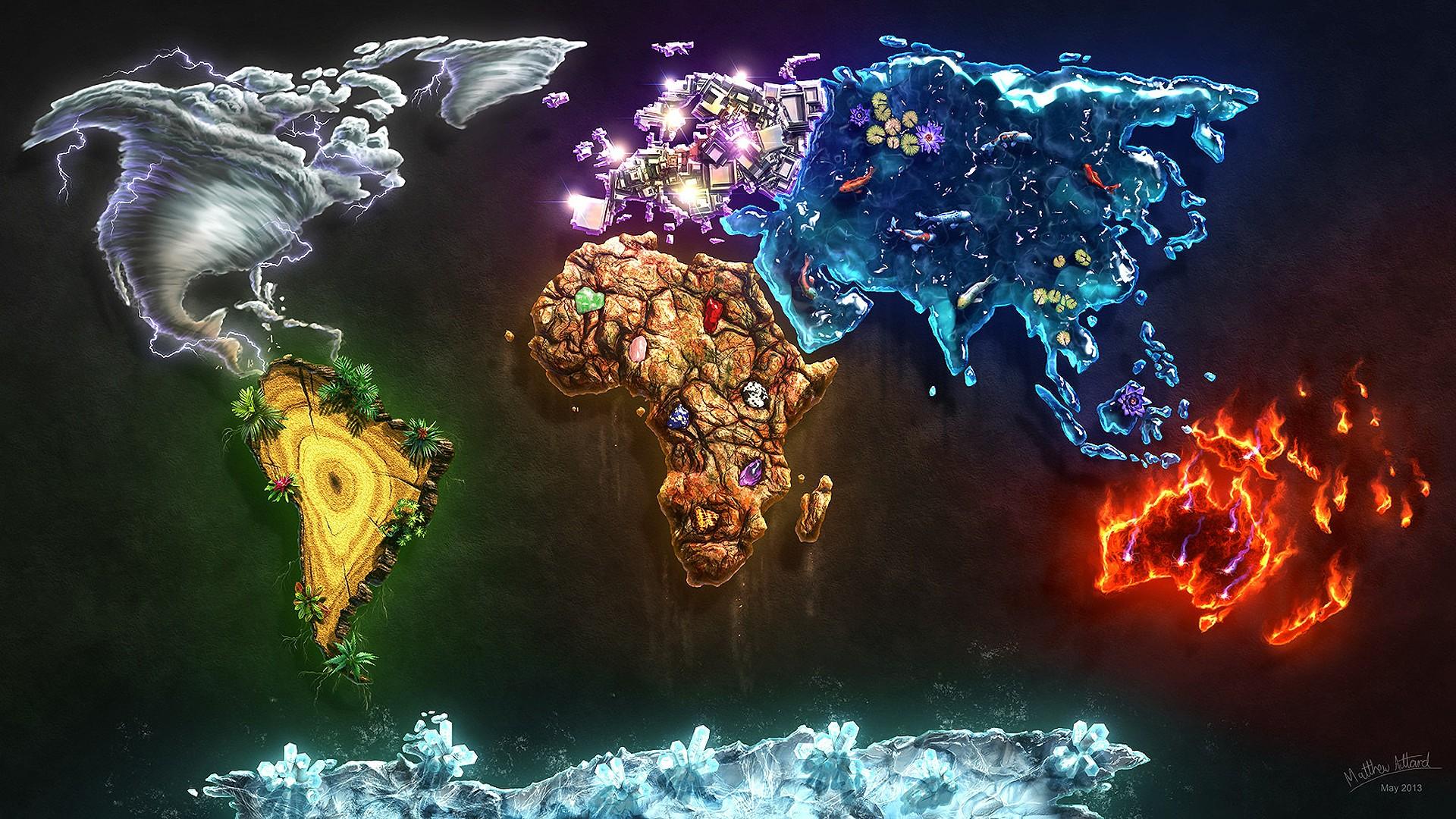Four Elements Art : Wallpaper : 1920x1080 px air continents diamonds earth fire