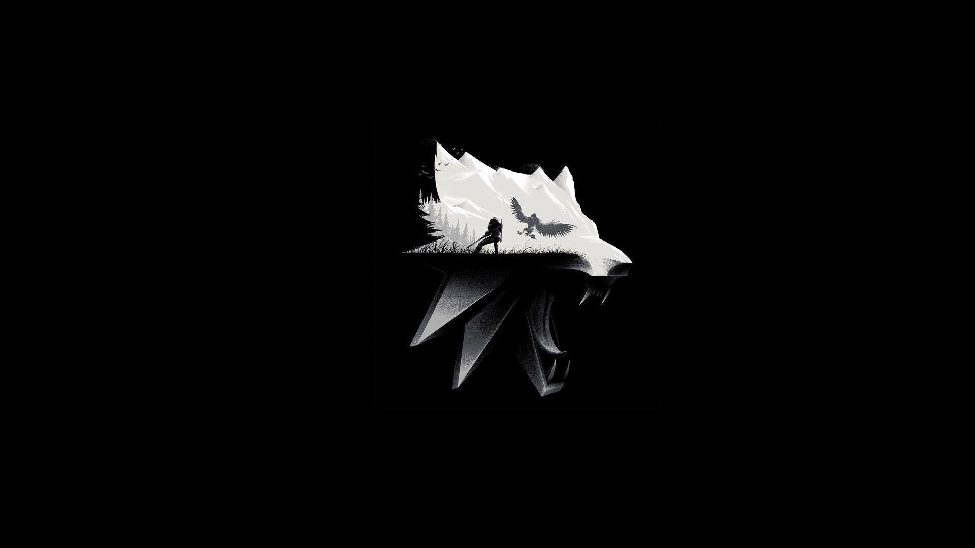 1920x1080 px animals dark fangs minimalism monochrome mountains simple background The Witcher The Witcher 3 Wild