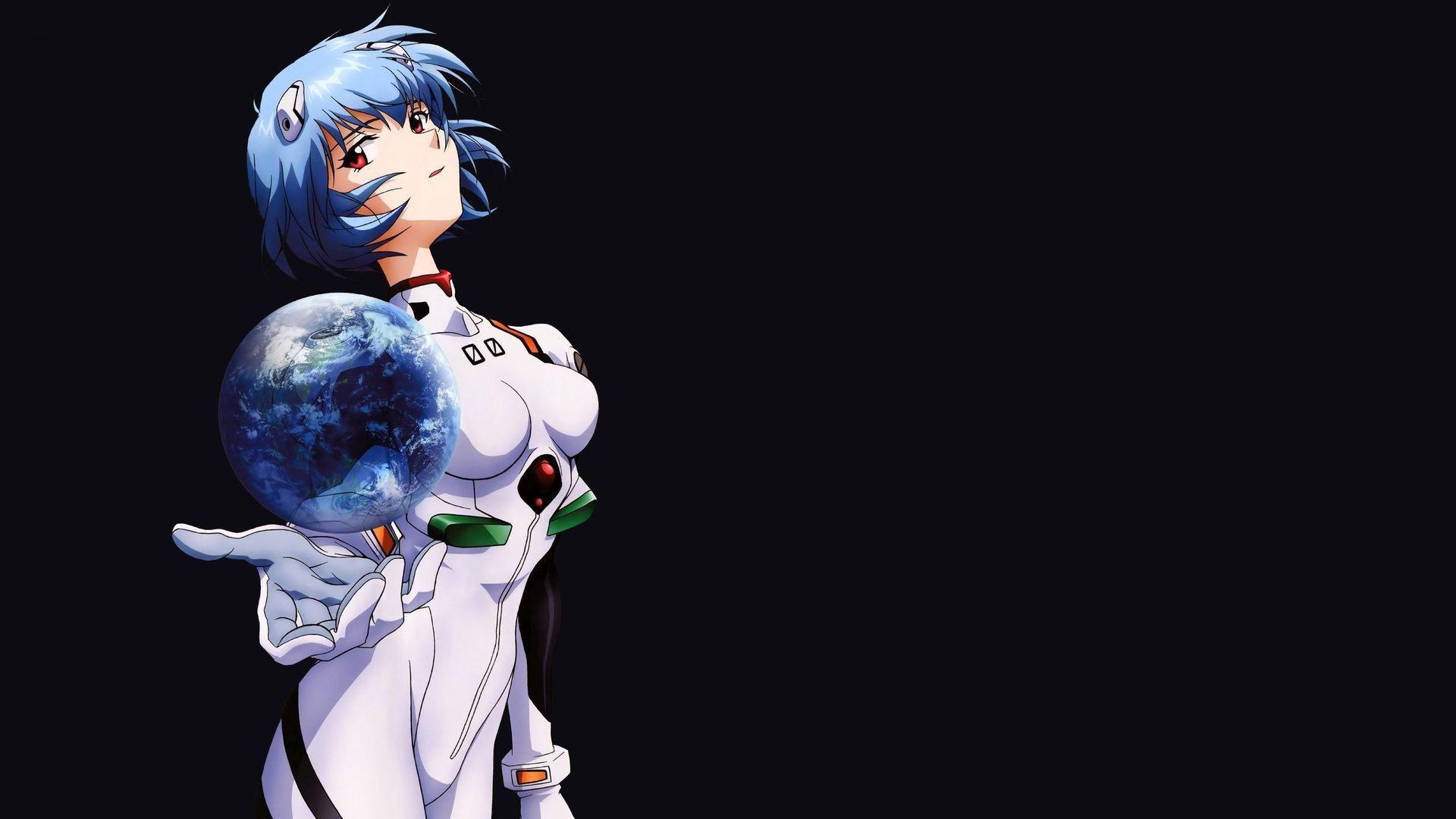 1920x1080 Px Anime Ayanami Rei Blue Neon Genesis Evangelion Simple Background