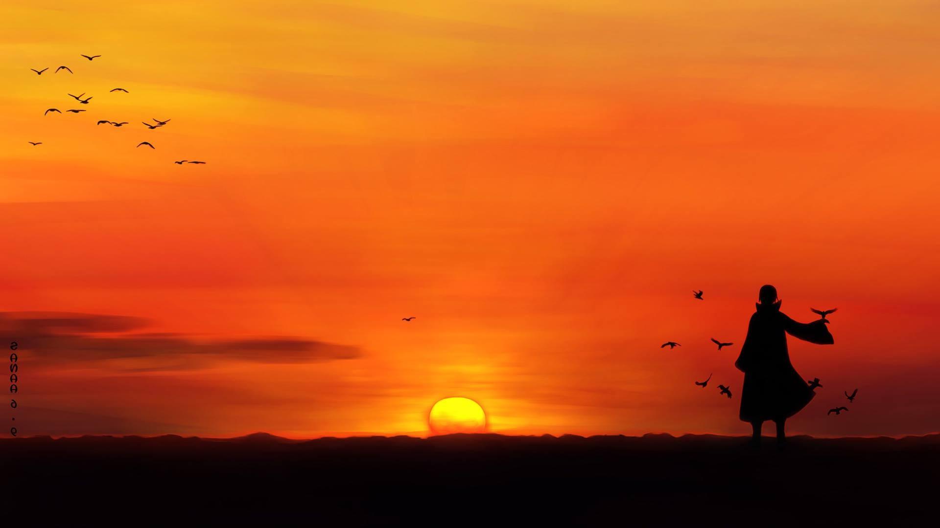 wallpaper : 1920x1080 px, anime, birds, silhouette, sunset, uchiha