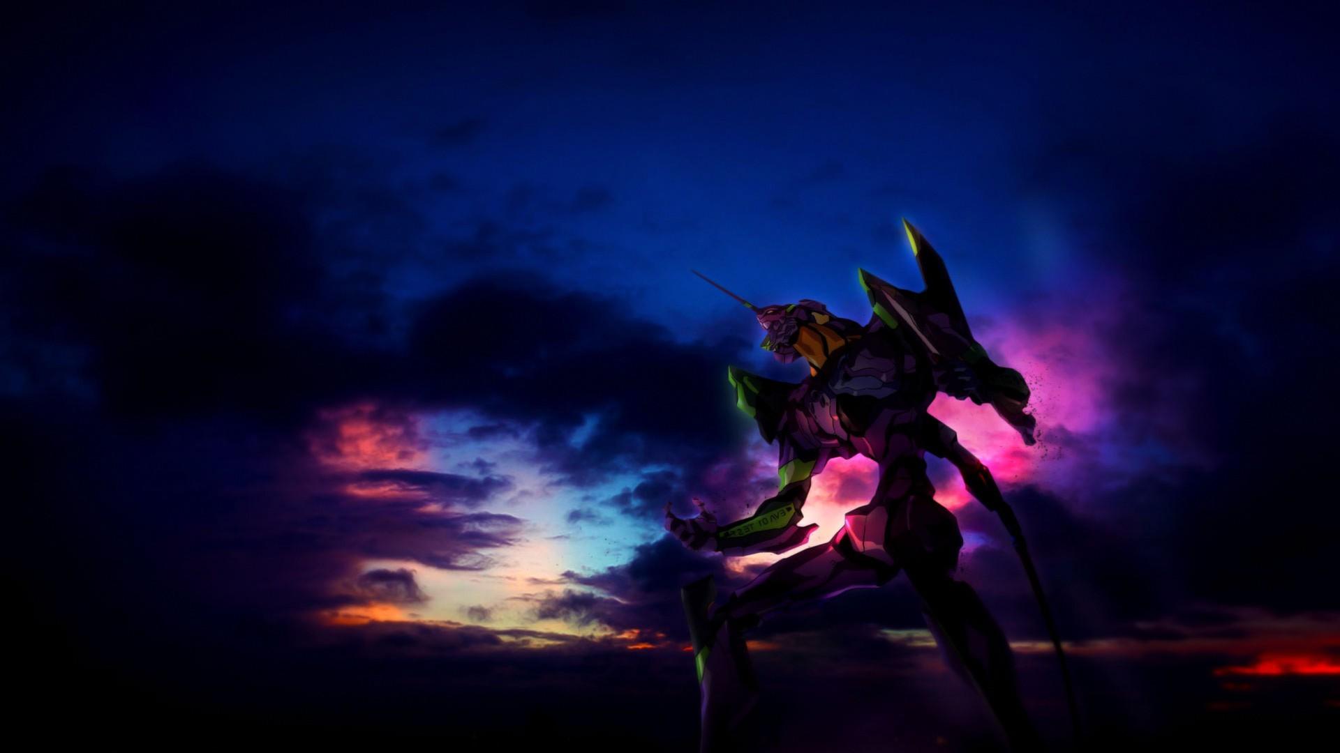 Wallpaper 1920x1080 Px Anime Clouds Eva Unit 01 Neon
