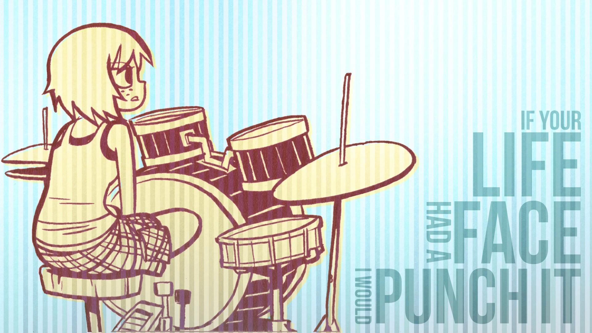 Wallpaper 1920x1080 Px Anime Girls Drums Quote Scott Pilgrim