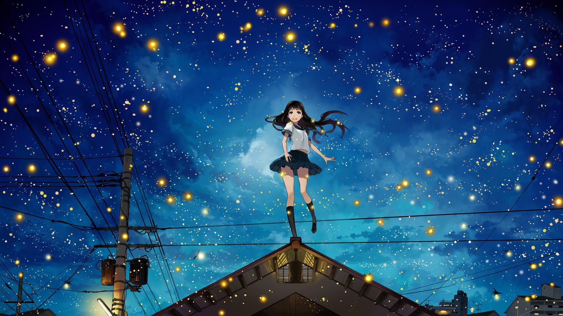 Wallpaper 1920x1080 Px Anime Girls Fireflies Night