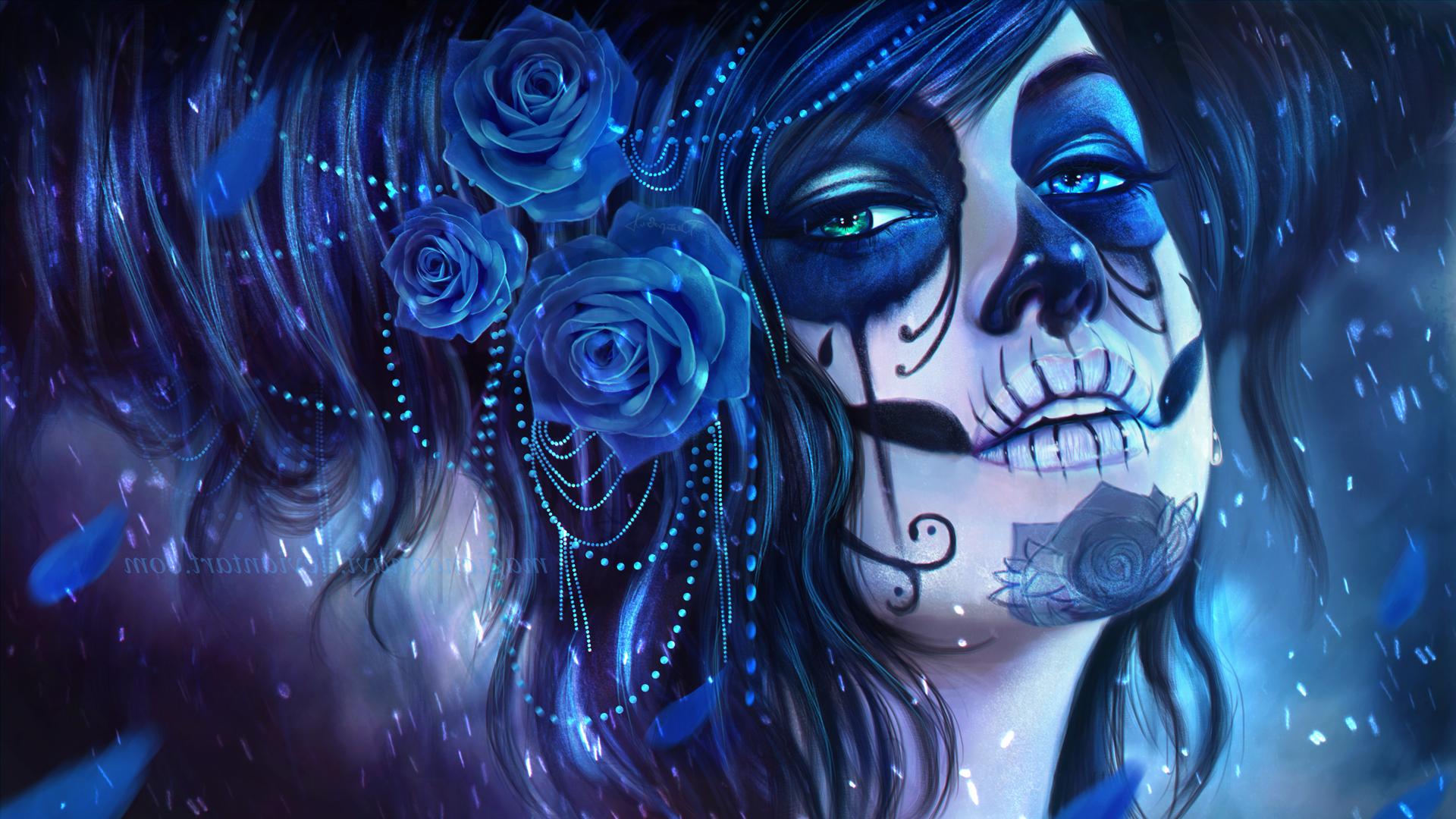 1920x1080 Px Artwork Blue Flowers MagicnaAnavi Rose Sugar Skull