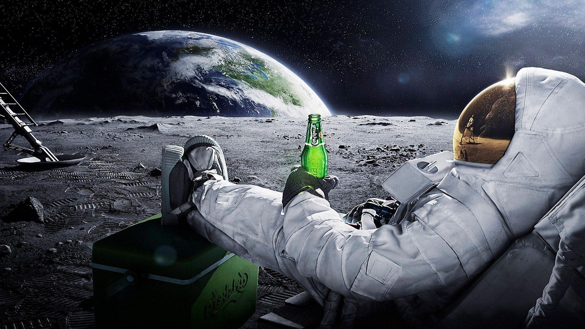 Papel De Parede 1920x1080 Px Playerunknowns: Papel De Parede : 1920x1080 Px, Astronauta, Cerveja, Terra