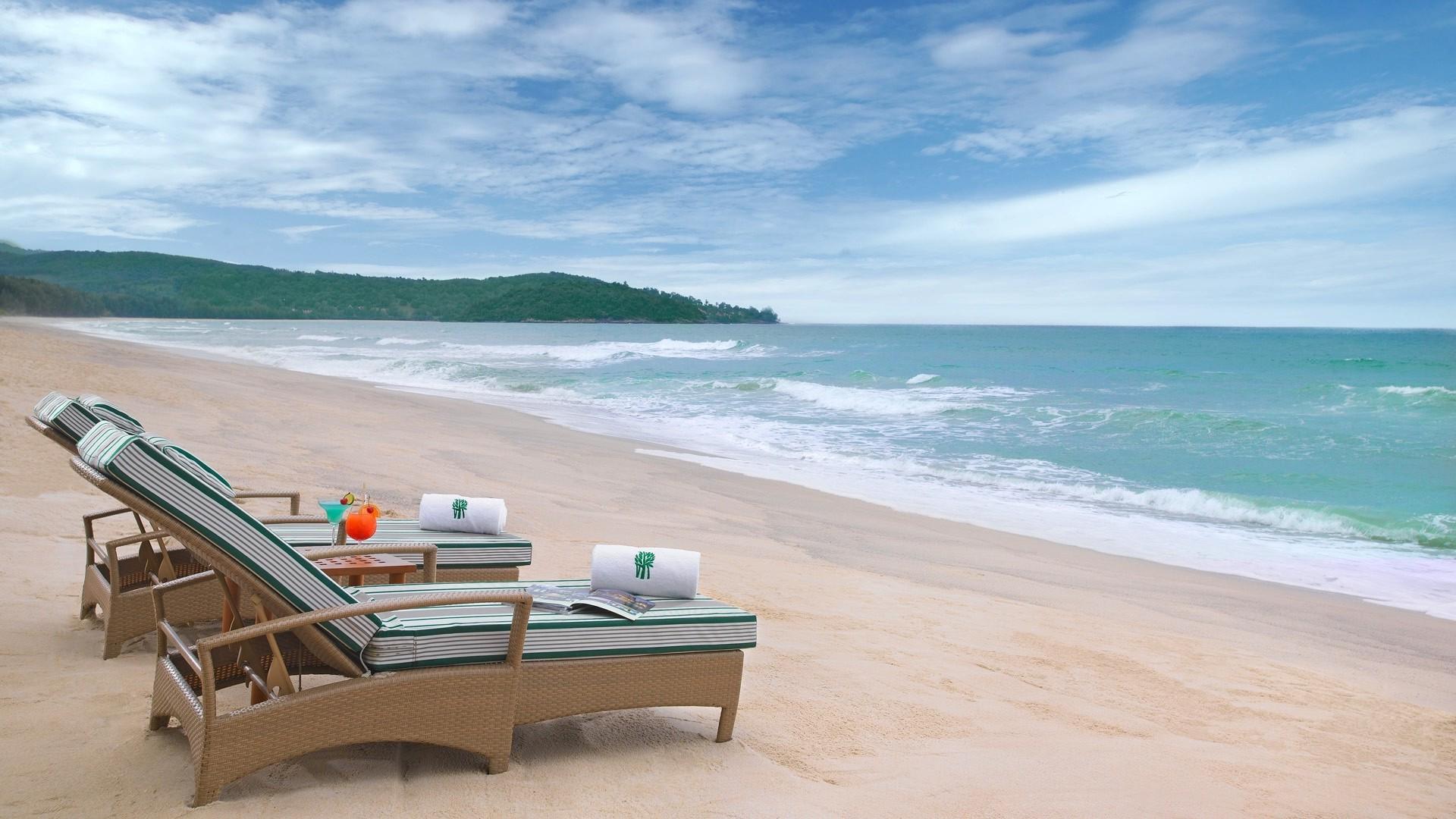 1920x1080 Px Beach Chair Clouds Drink Hill Landscape Nature Sand Sea Summer  Tropical