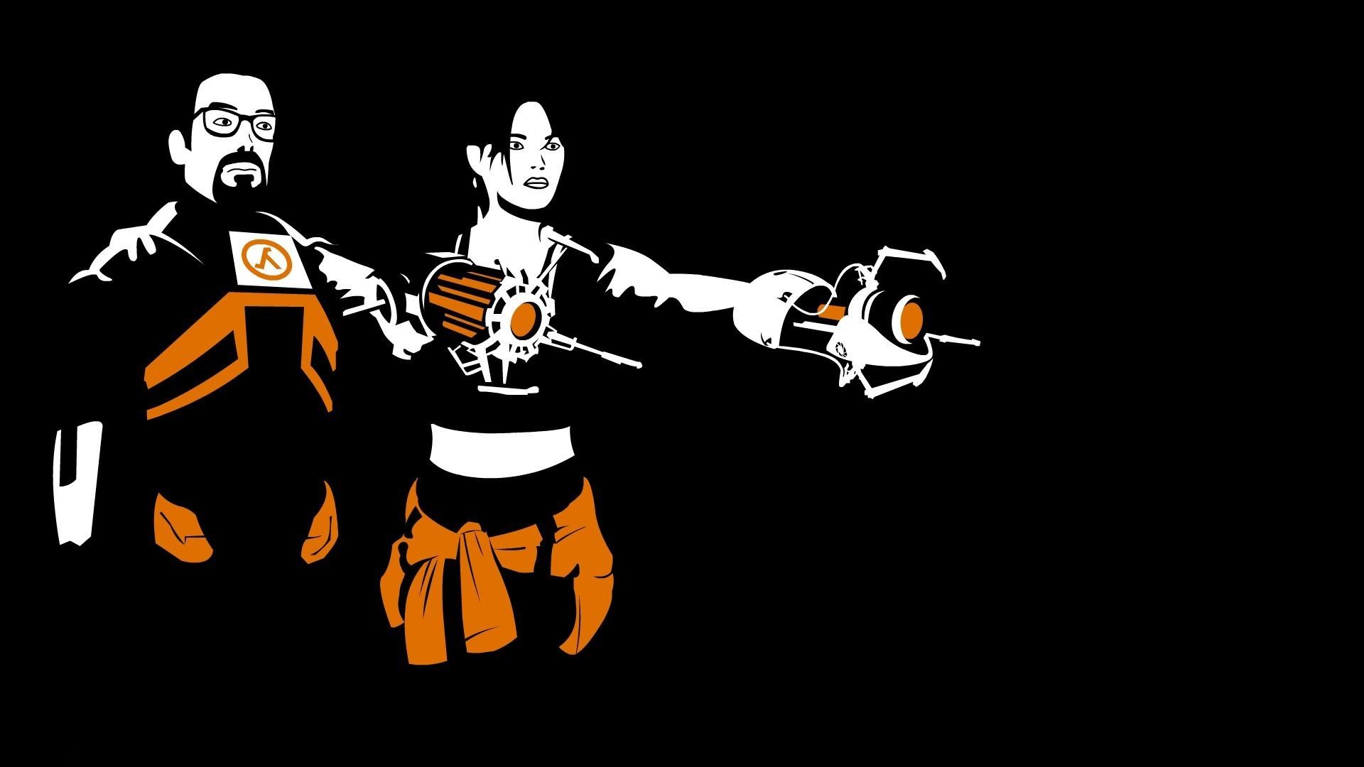 Wallpaper 1920x1080 Px Black Background Half Life 2 Orange