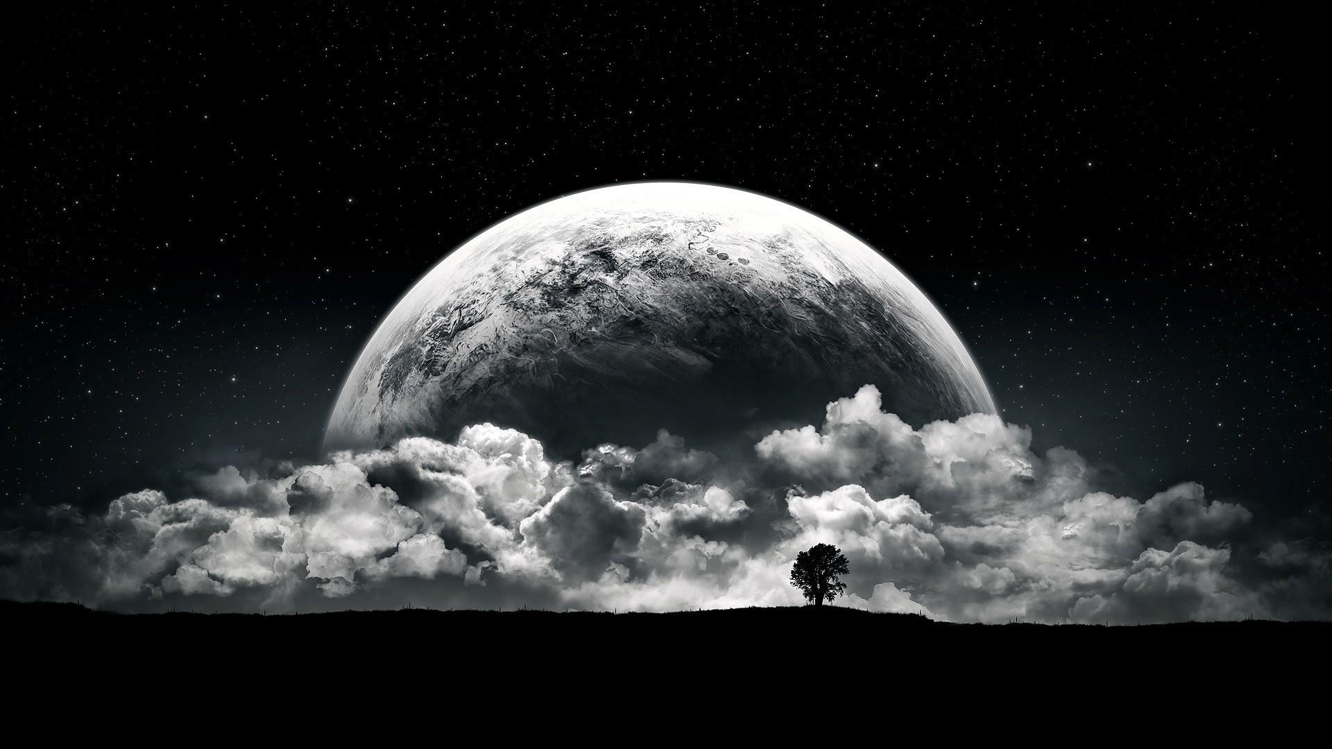wallpaper : 1920x1080 px, black, clouds, moon, night, planet, stars