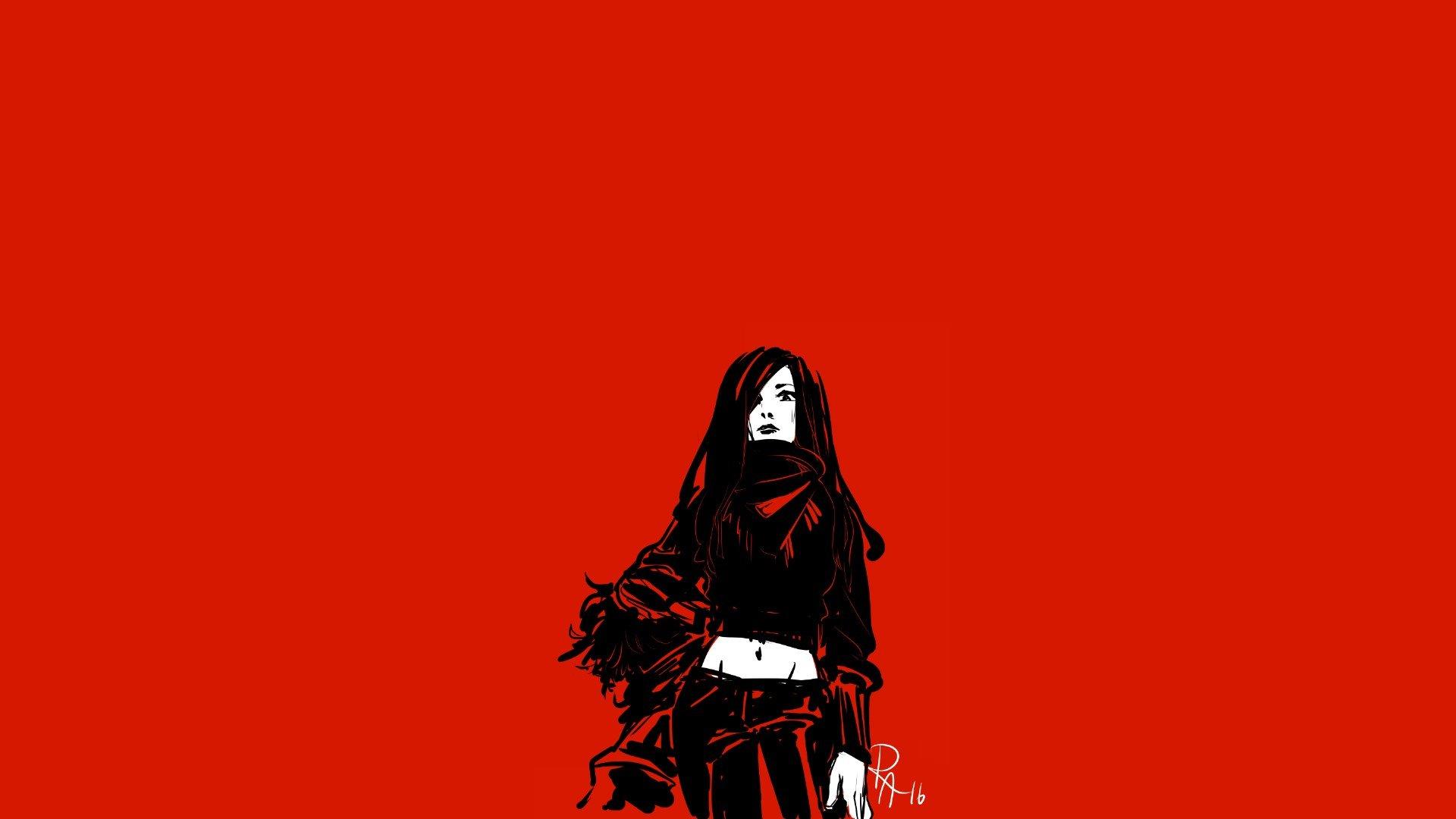 Wallpaper 1920x1080 Px Black Hair Coats Minimalism Red