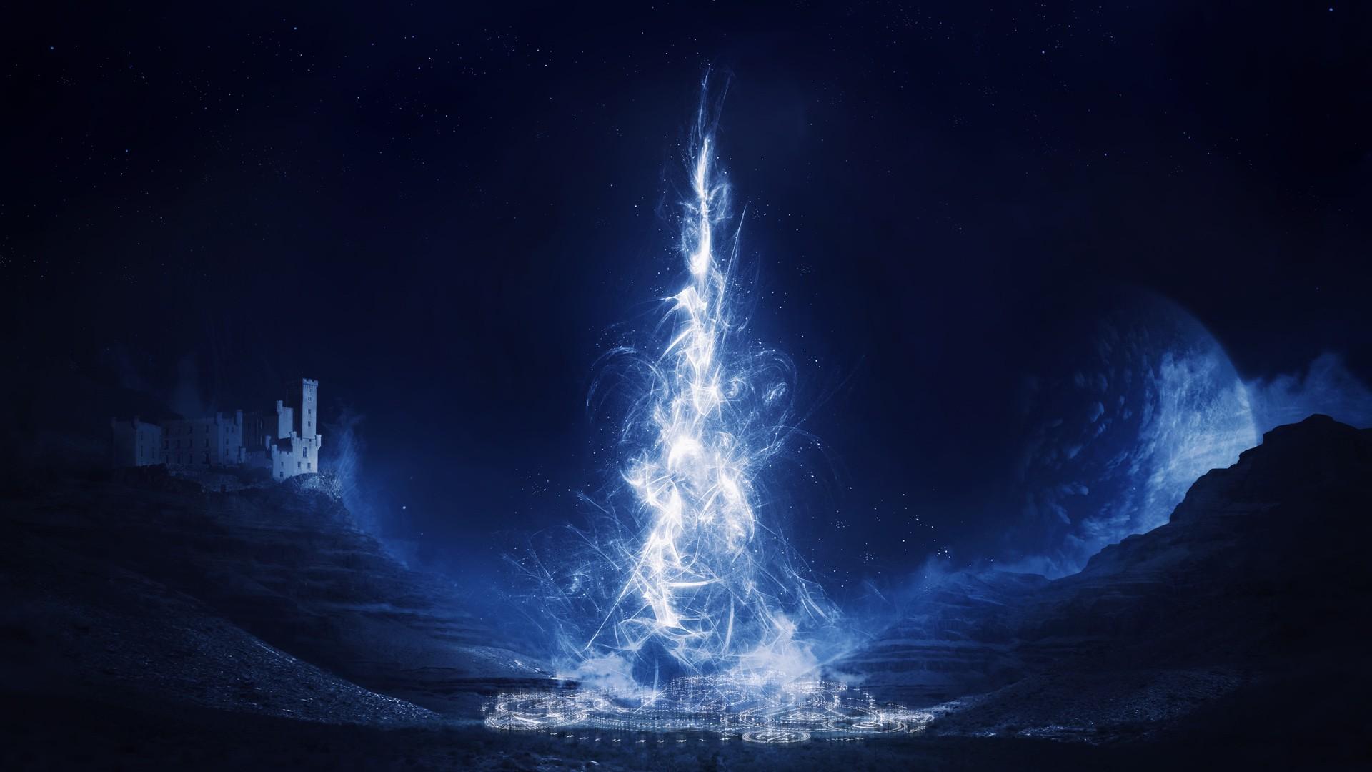 1920x1080 px blue castle fantasy magic night