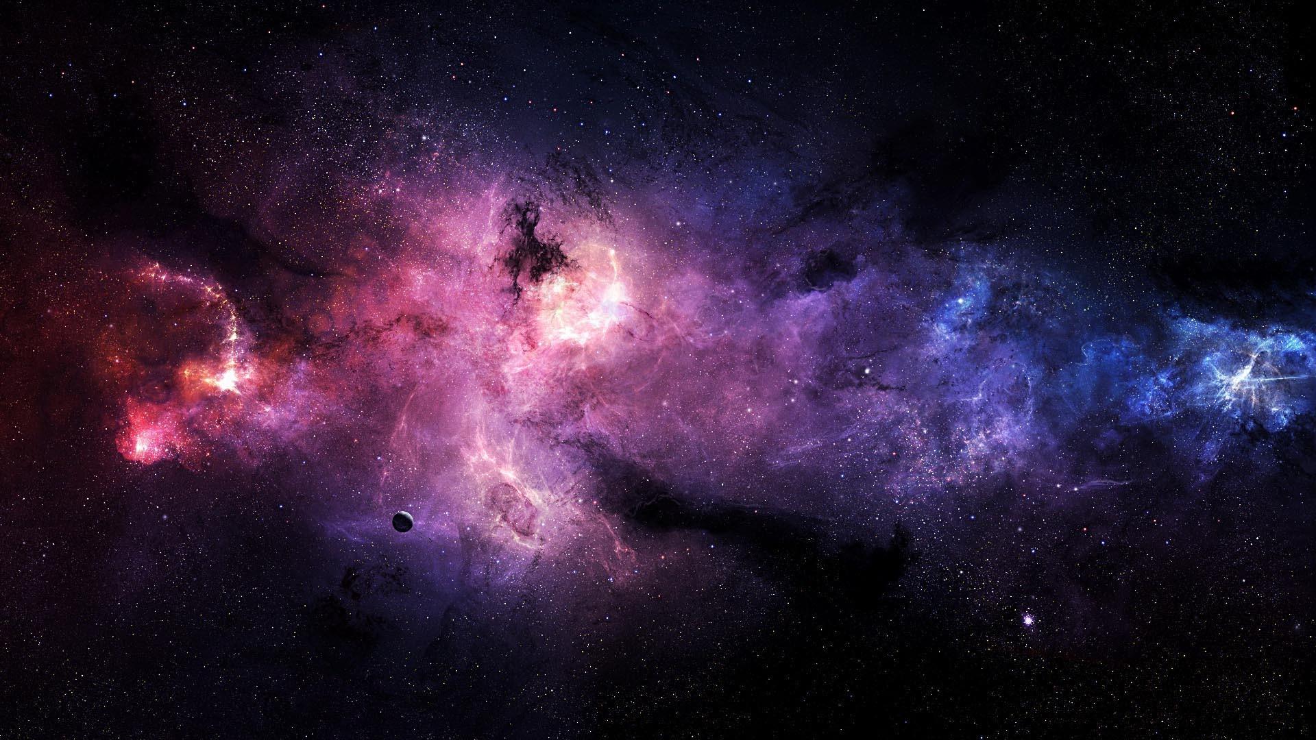 Wallpaper 1920x1080 Px Blue Colorful Nebula Pink Space Stars
