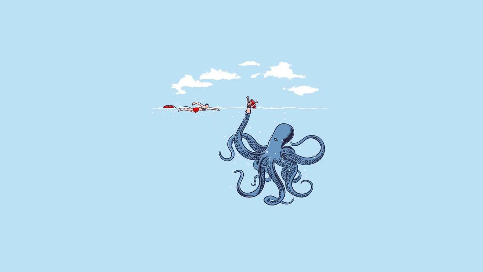 1920x1080 Px Blue Humor Minimalism Octopus Simple